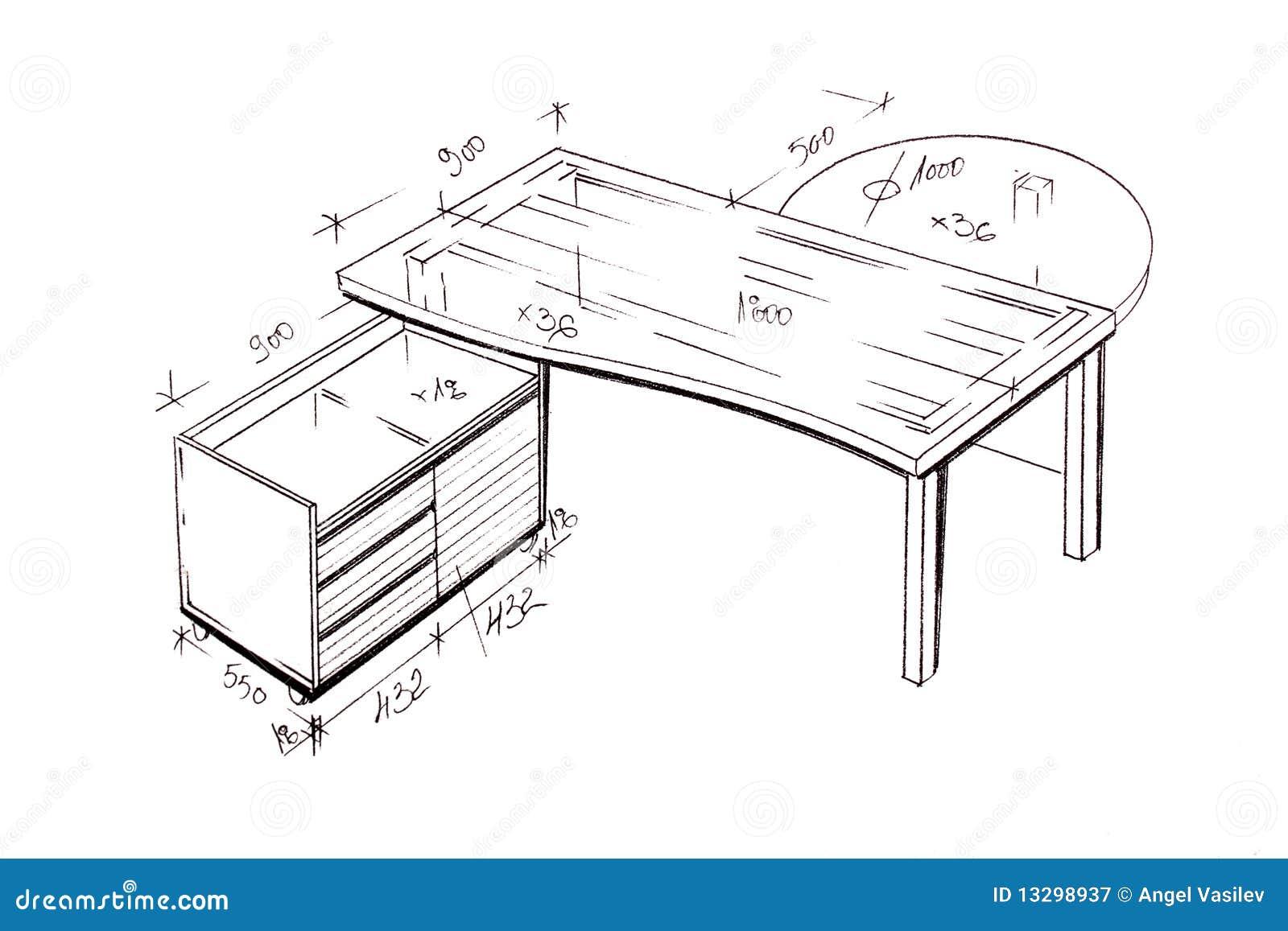 Modern Interior Design Desk Freehand Drawing Royalty Free