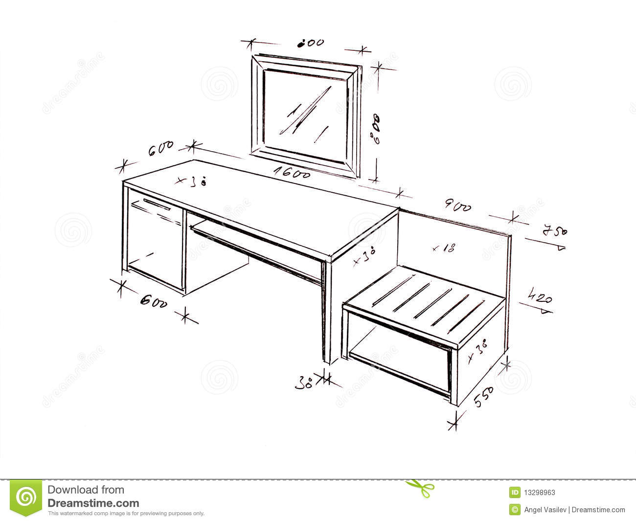 Modern Interior Design Desk Freehand Drawing Stock