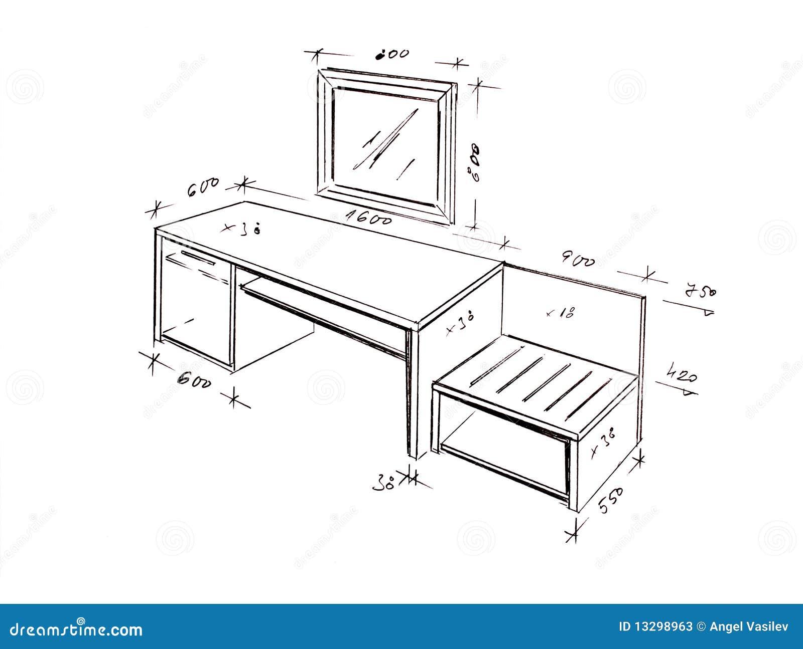 Modern Interior Design Desk Freehand Drawing Stock Photos