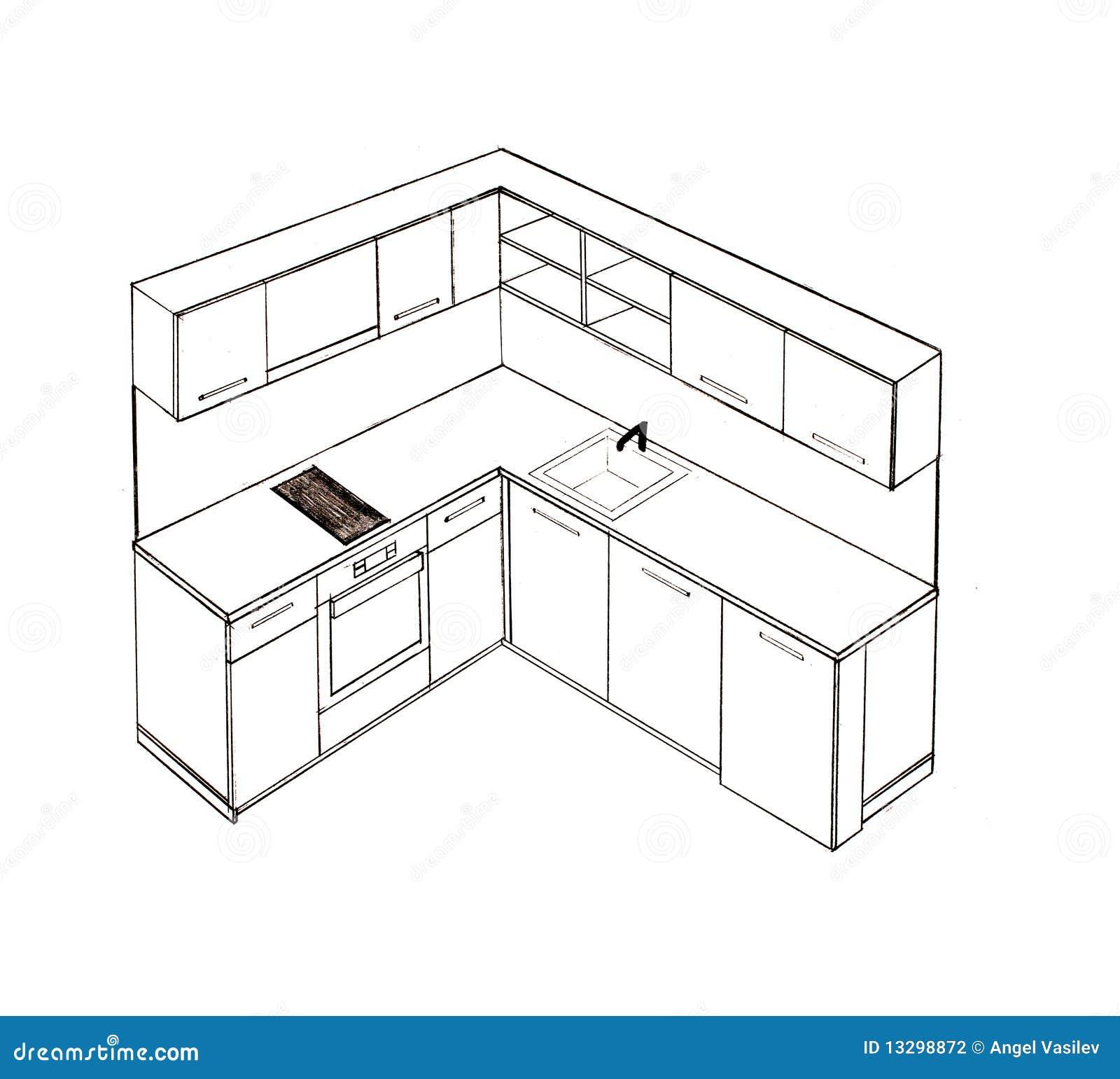 modern interior design freehand drawing stock illustration image 13298872. Black Bedroom Furniture Sets. Home Design Ideas