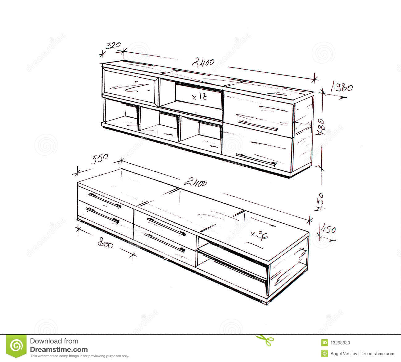 Modern Furniture Drawings modern interior design table freehand drawing. stock photos