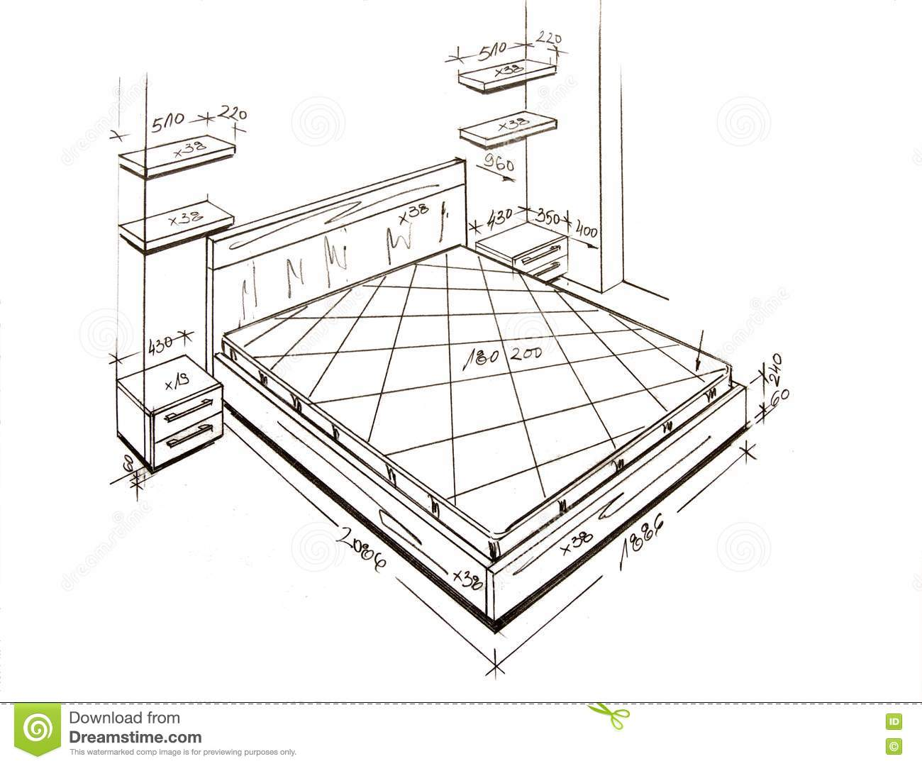 Modern Interior Design Freehand Drawing Royalty Free Stock Photos Image 14052358
