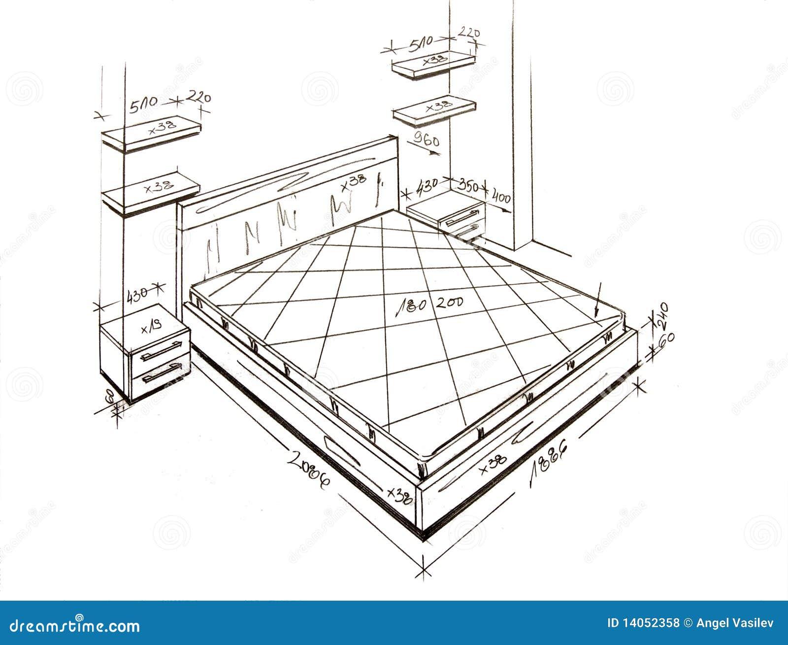 Modern interior design freehand drawing royalty free for Interior design drawings free download