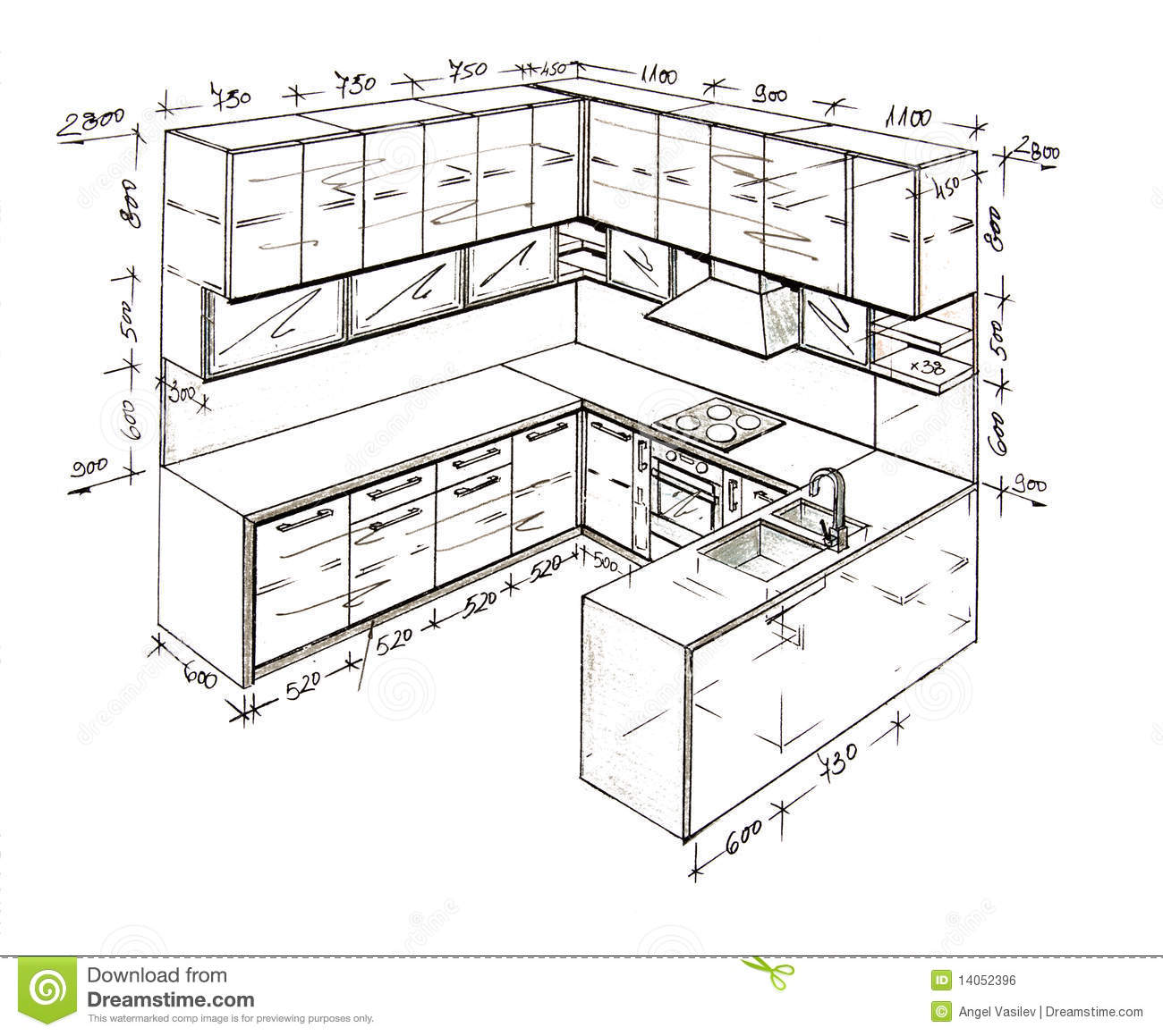 Modern Interior Design Kitchen Freehand Drawing Royalty Free