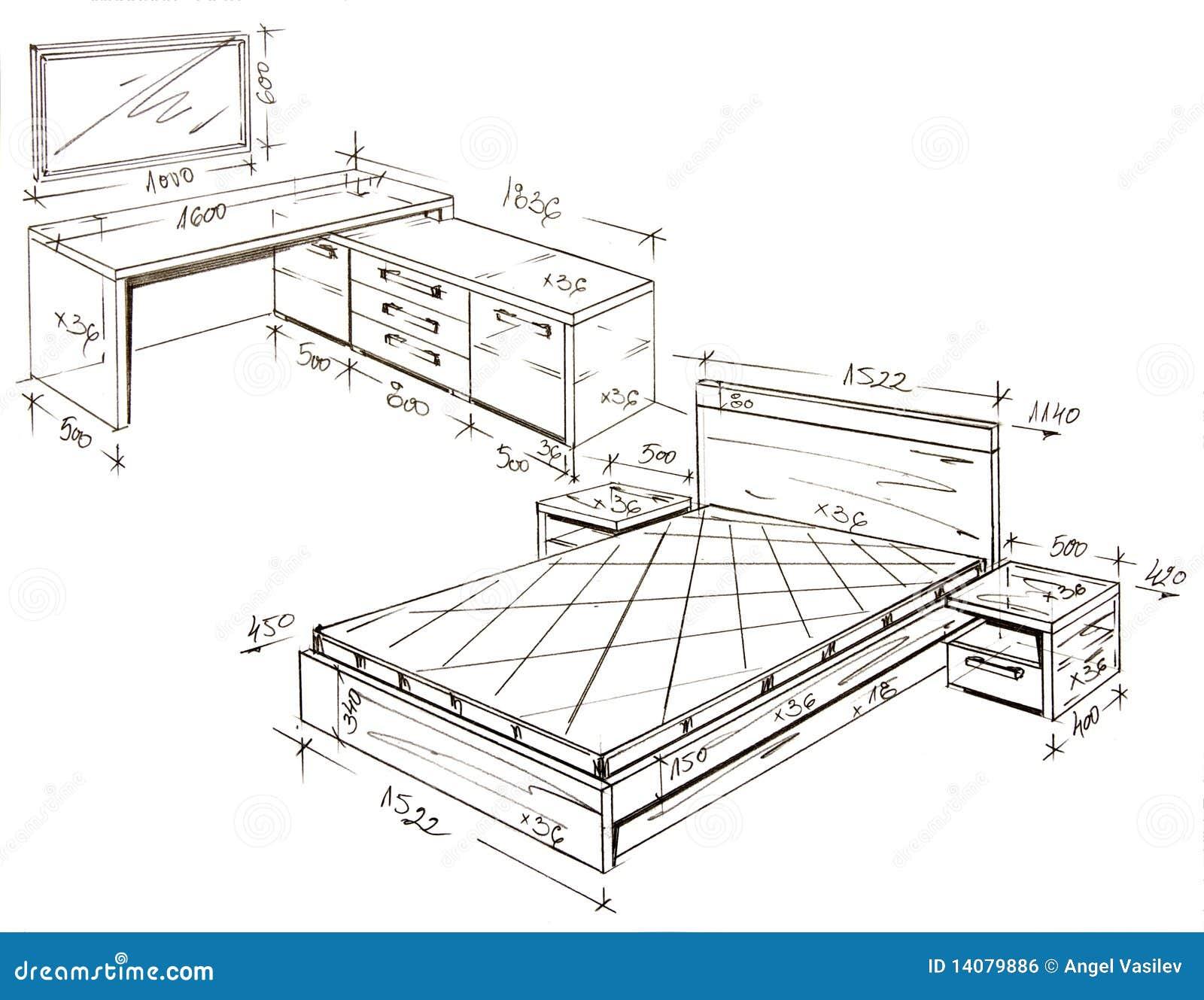 Modern interior design freehand drawing royalty free for Interior designs drawings