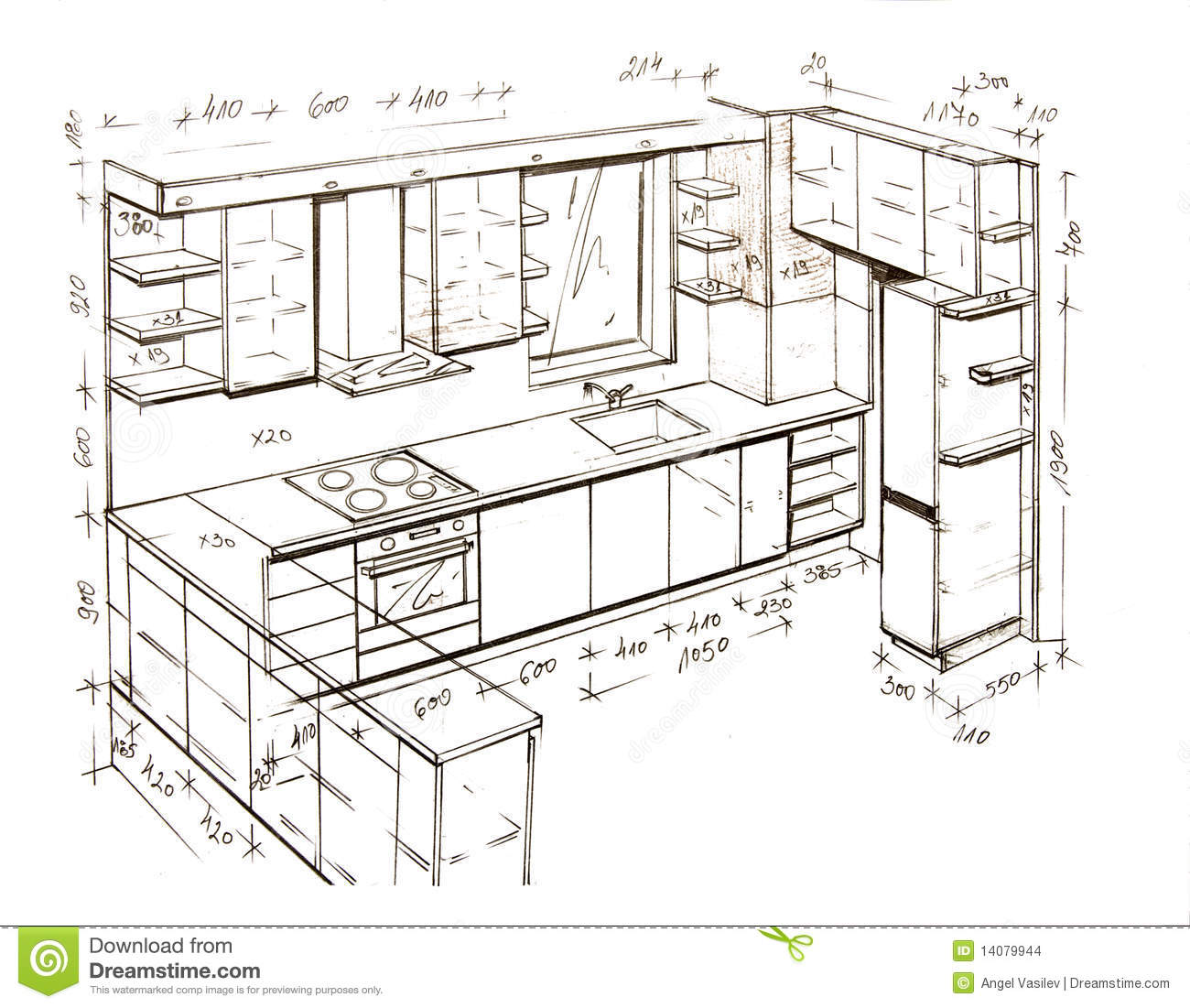 Modern interior design freehand drawing stock for Dessin architecte interieur