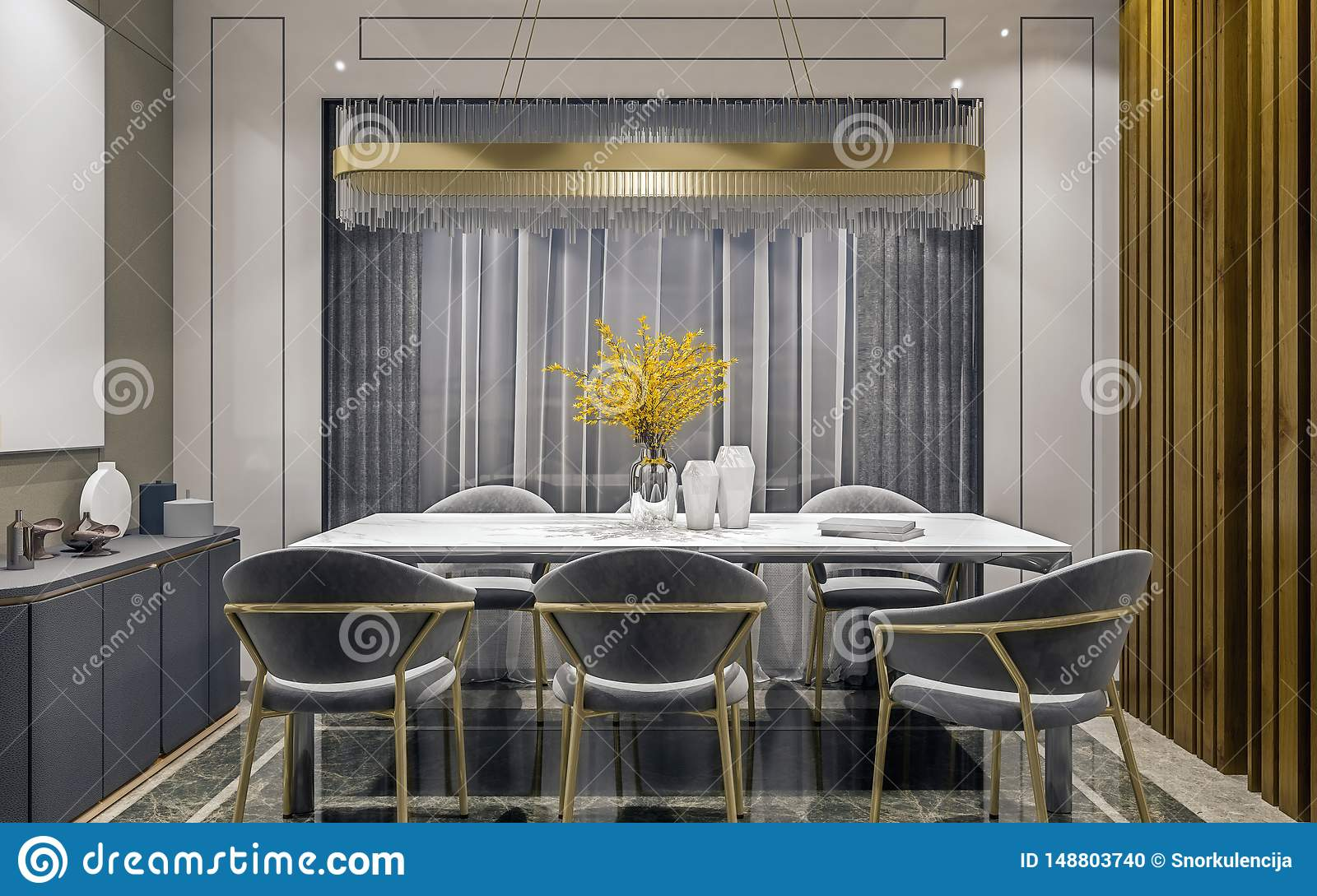 Modern Interior Design Of Grey Gold Dining Room With Side Console And Wooden Slabs Wall Dark And Moody Night Scene Stock Photo Image Of Interior Frame 148803740