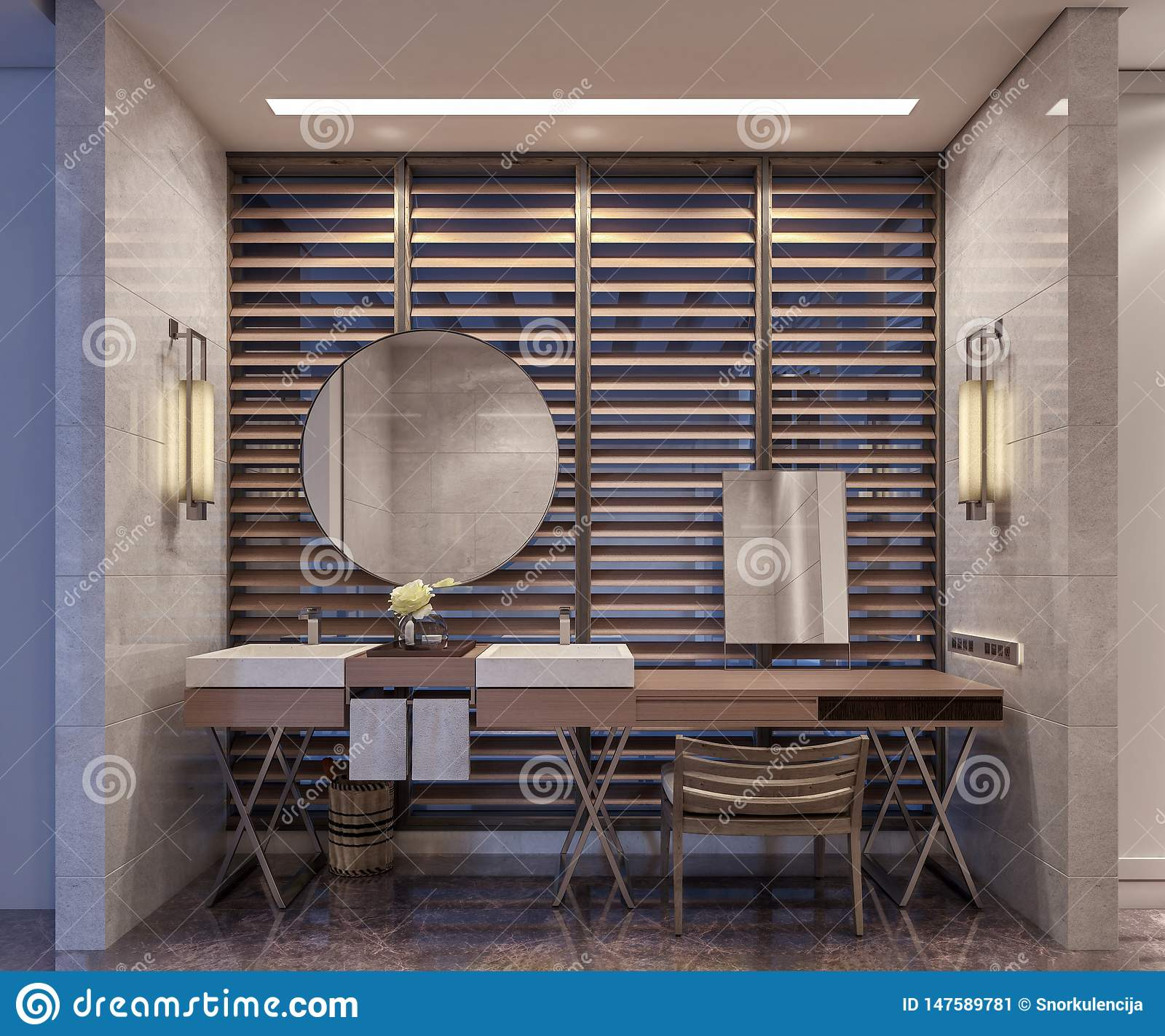 Modern Interior Design Of Hotel Bathroom And Vanity Double Mirrors In Front Of Large Window With Wooden Blinds Stock Image Image Of Luxurious Chrome 147589781