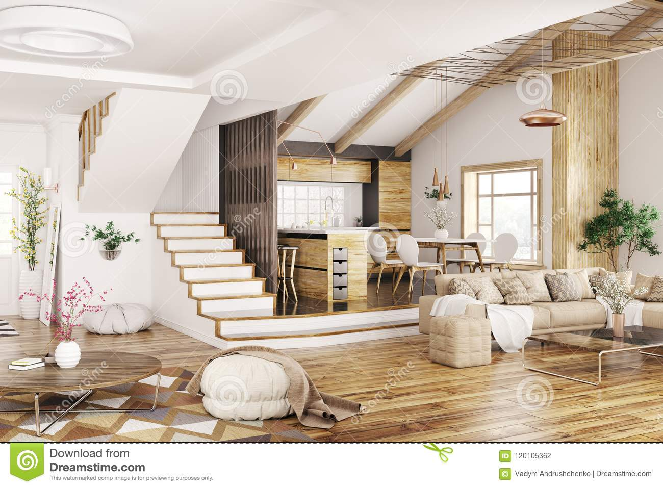 Modern interior design of house kitchen living room with sofa hall staircase 3d rendering