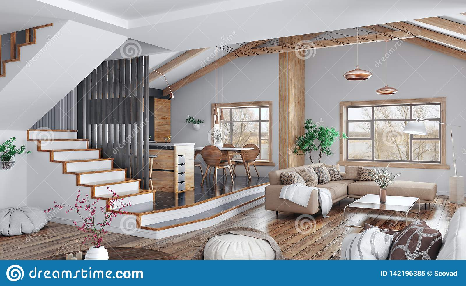 Modern Interior Design Of House, Kitchen, Living Room With