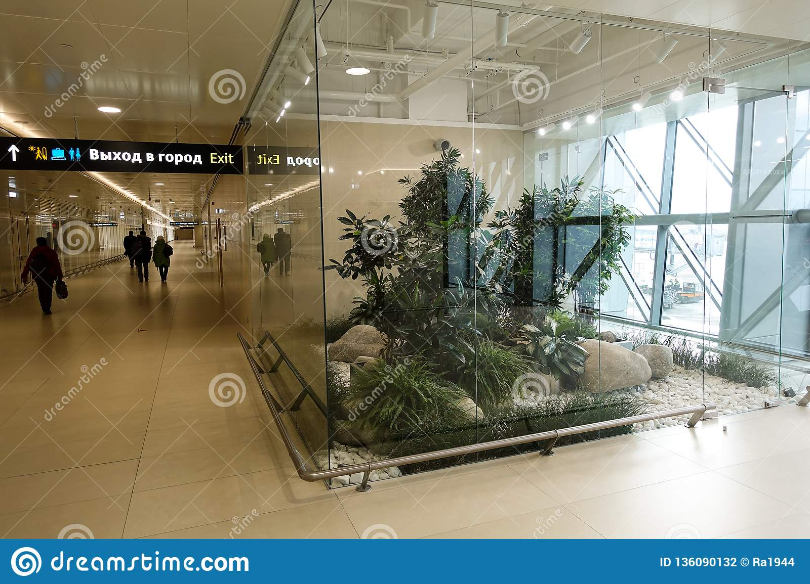 Modern Interior Design With Indoor Plants Simferopol Airport 2019 January 01 Editorial Photography Image Of Glass Decorative 136090132
