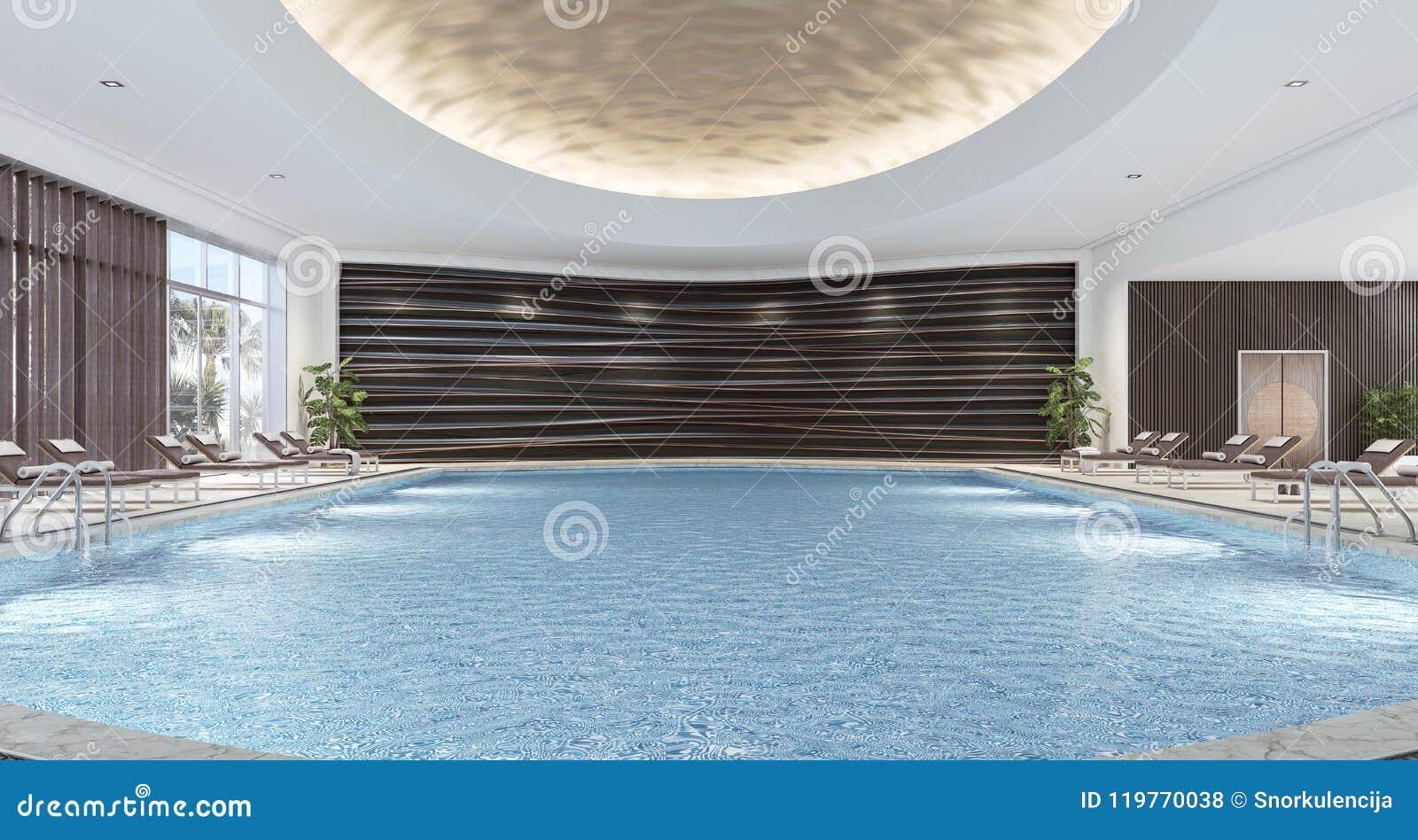 Modern Interior Design Of Indoor Swimming Pool Stock Illustration Illustration Of Floor Dark 119770038