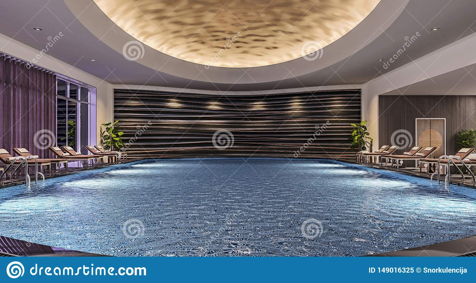 Modern Interior Design Of Indoor Swimming Pool With Pool Beds Night Scene Hotel Resort Spa High Contrast Dark Stock Image Image Of Luxury Modern 149016325