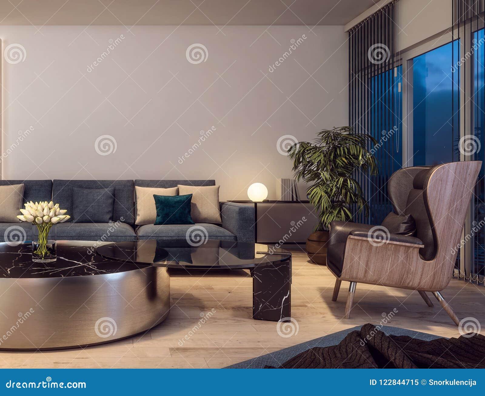 Modern Interior Design Of Italian Style Living Room, Contemporary, Luxury,  Lounge Area, Sparse, Night Scene