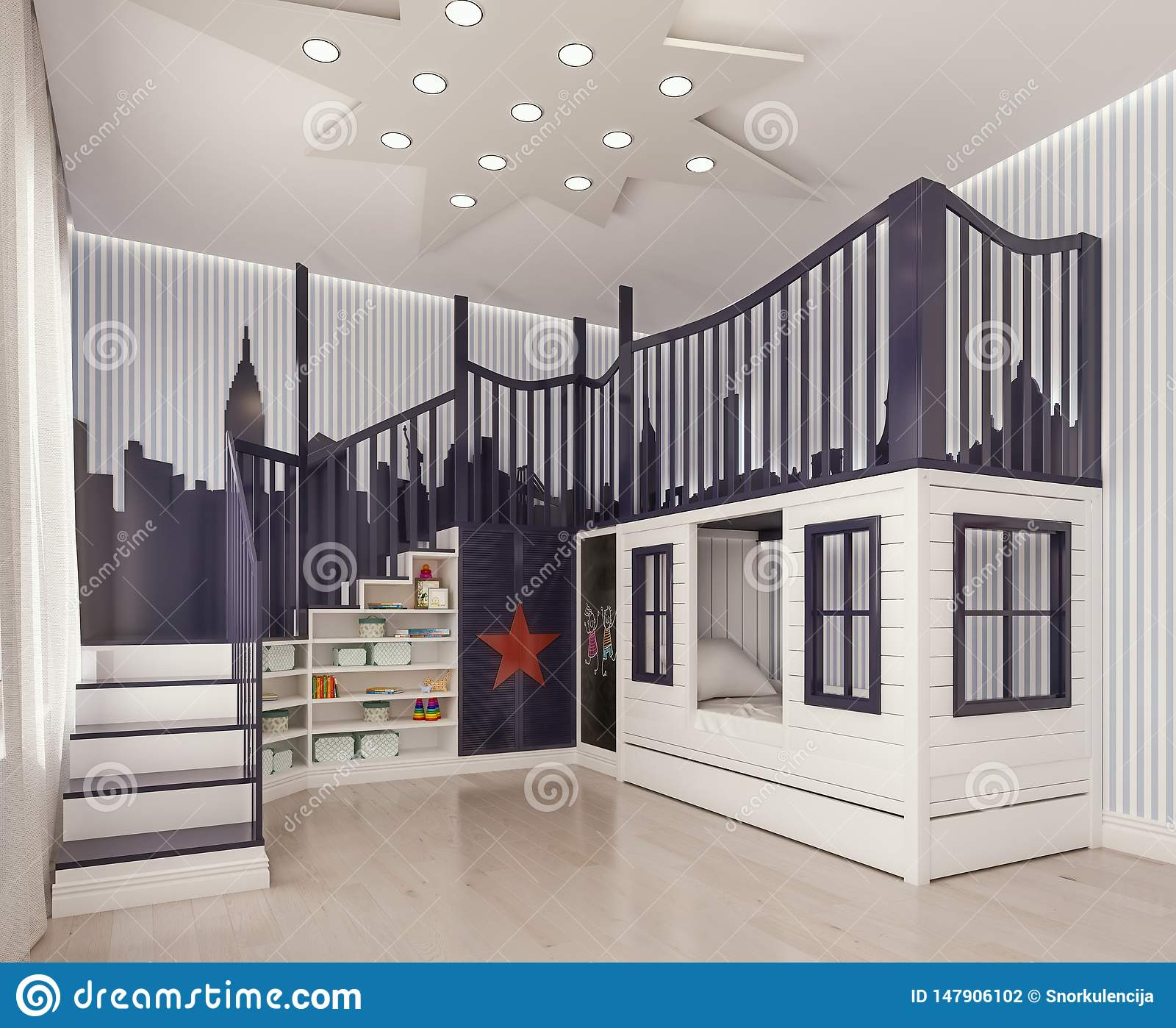 Modern Interior Design Kids Bedroom Children Room Playroom With