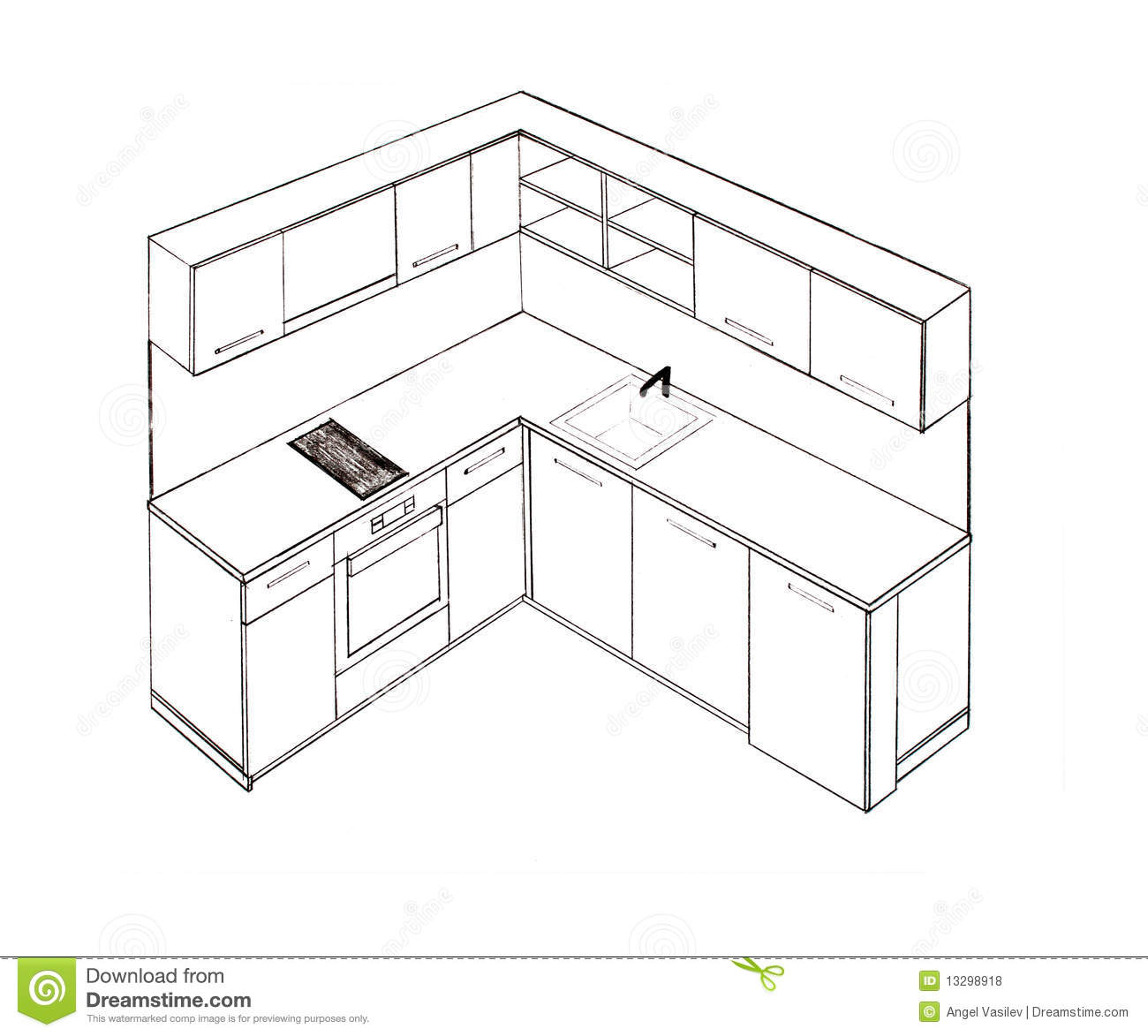 Modern Interior Design Kitchen Freehand Drawing. Royalty Free Stock  #85A724 1300 1173