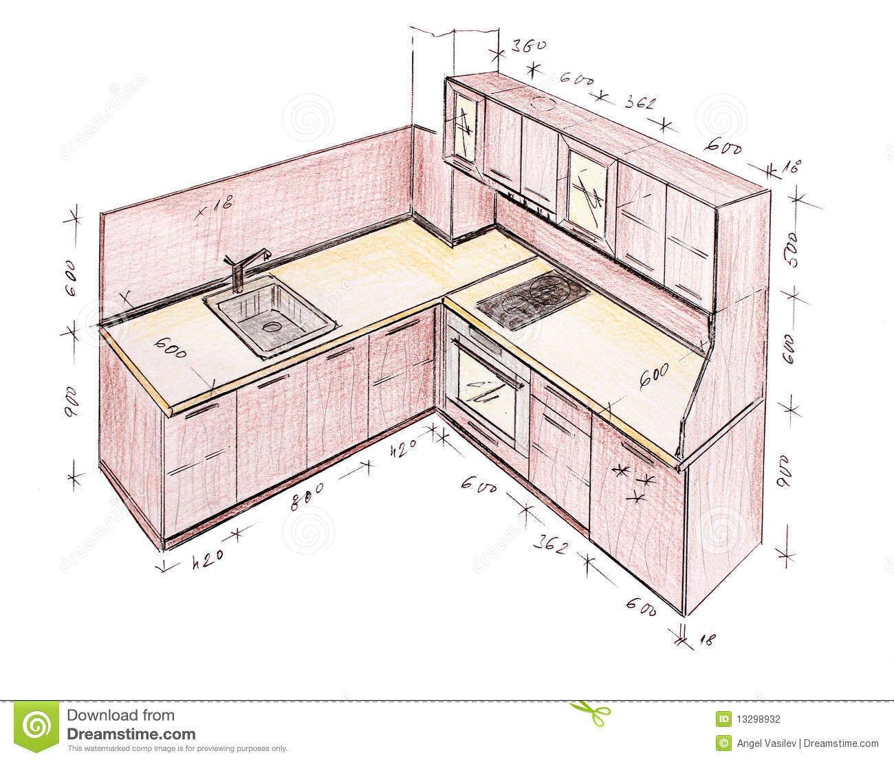 Modern interior design kitchen freehand drawing stock illustration image - Plan de cuisine en l ...