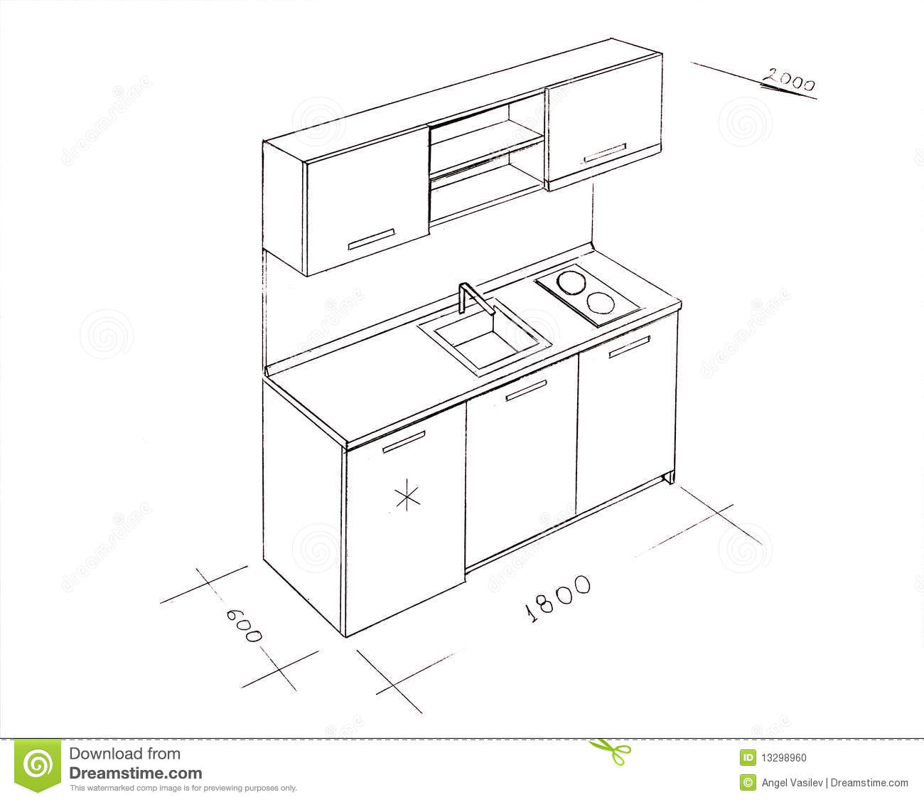Modern Interior Design Kitchen Freehand Drawing Stock Photo Image 13298960
