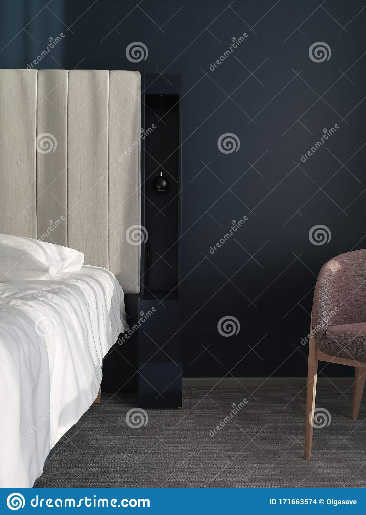 Modern Interior Design With Linen Bed Head Board And Navy Blue Wall Behind It Scandinavian Style Interior Design Stock Photo Image Of Detail Luxury 171663574