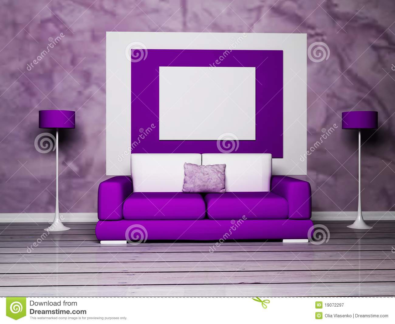 Purple Decorations For Living Room Modern Interior Design Of Living Room Royalty Free Stock