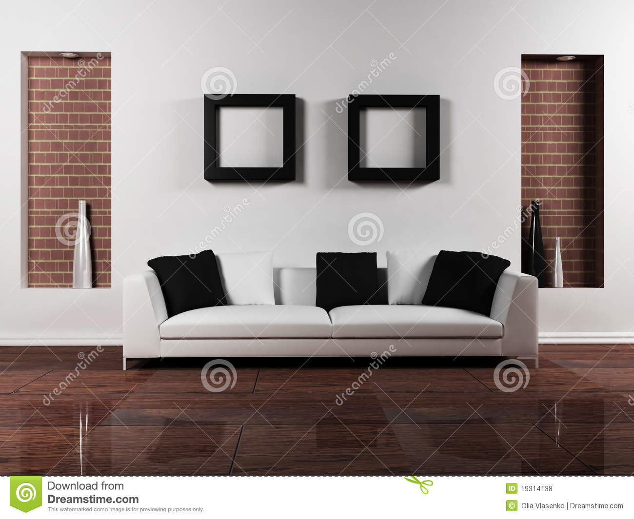 Modern interior design of living room royalty free stock for Modern interior