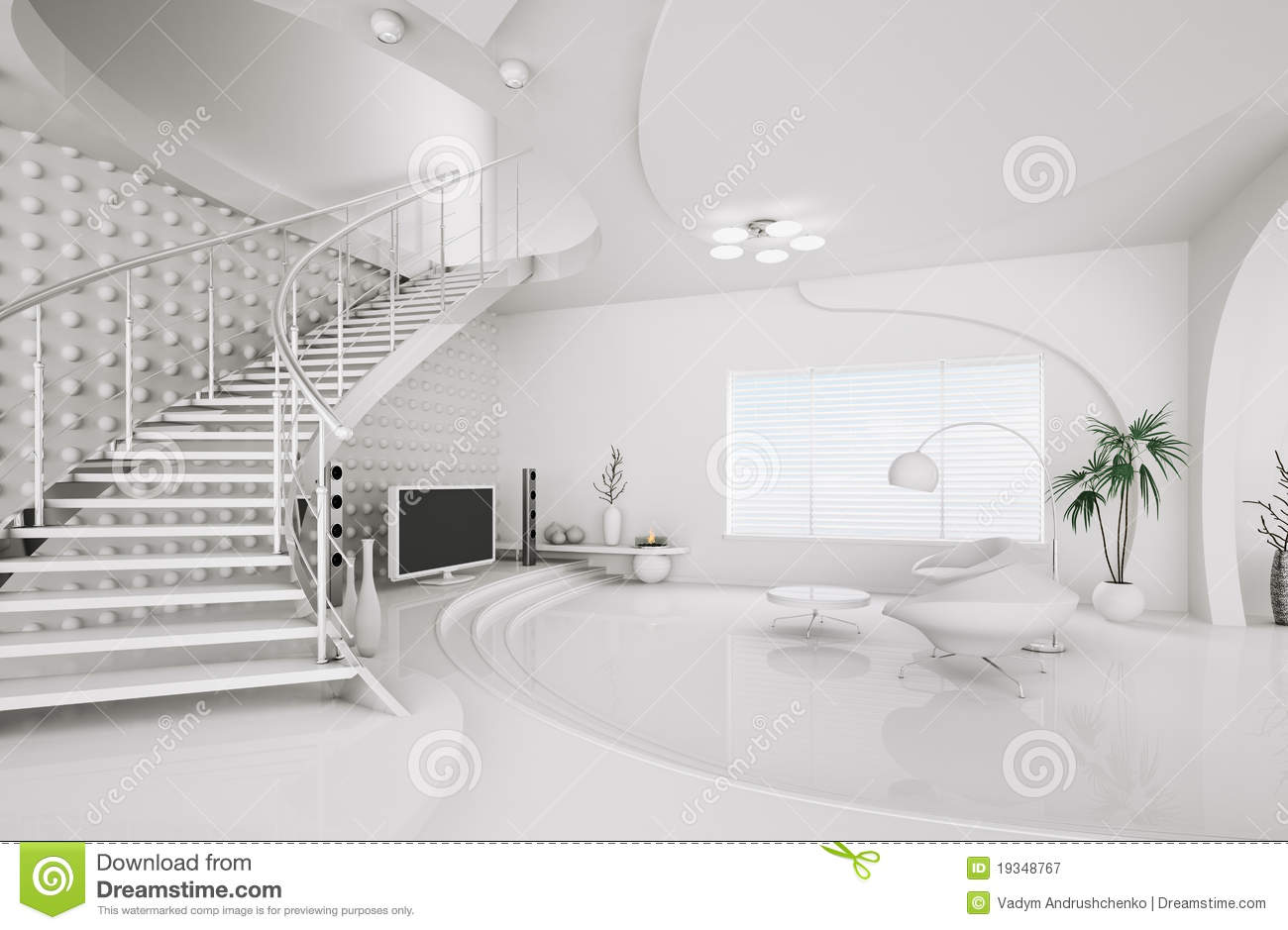 Modern Interior Design Of Living Room 3d Render Royalty Free Stock ...
