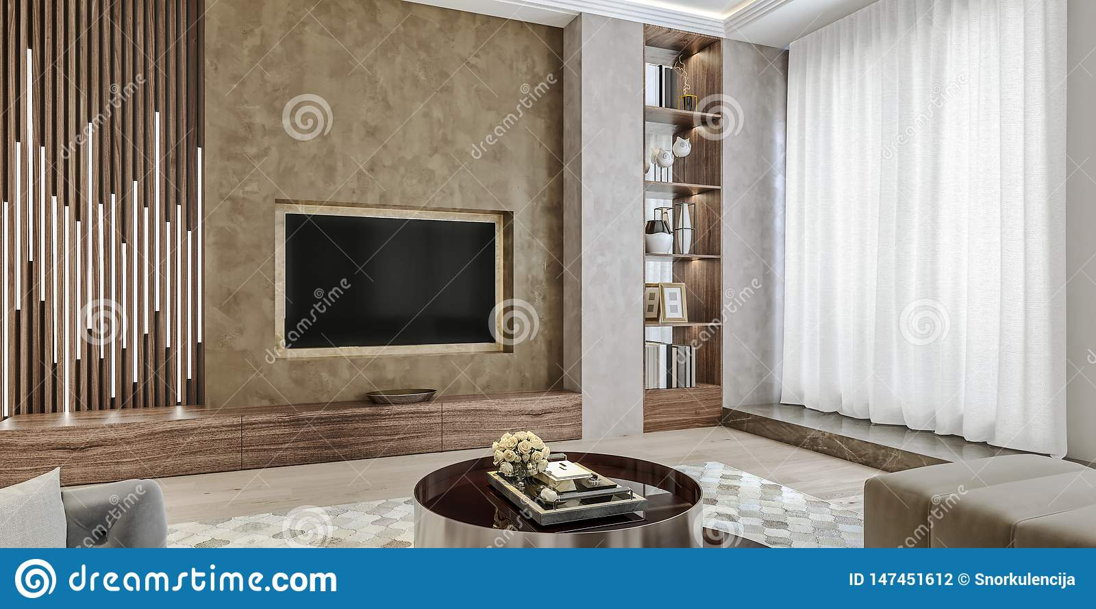 Modern Interior Design Of Living Room Angled Close Up View Of Tv Wall With Book Shelves Stucco Plaster Stock Illustration Illustration Of Luxury Modern 147451612