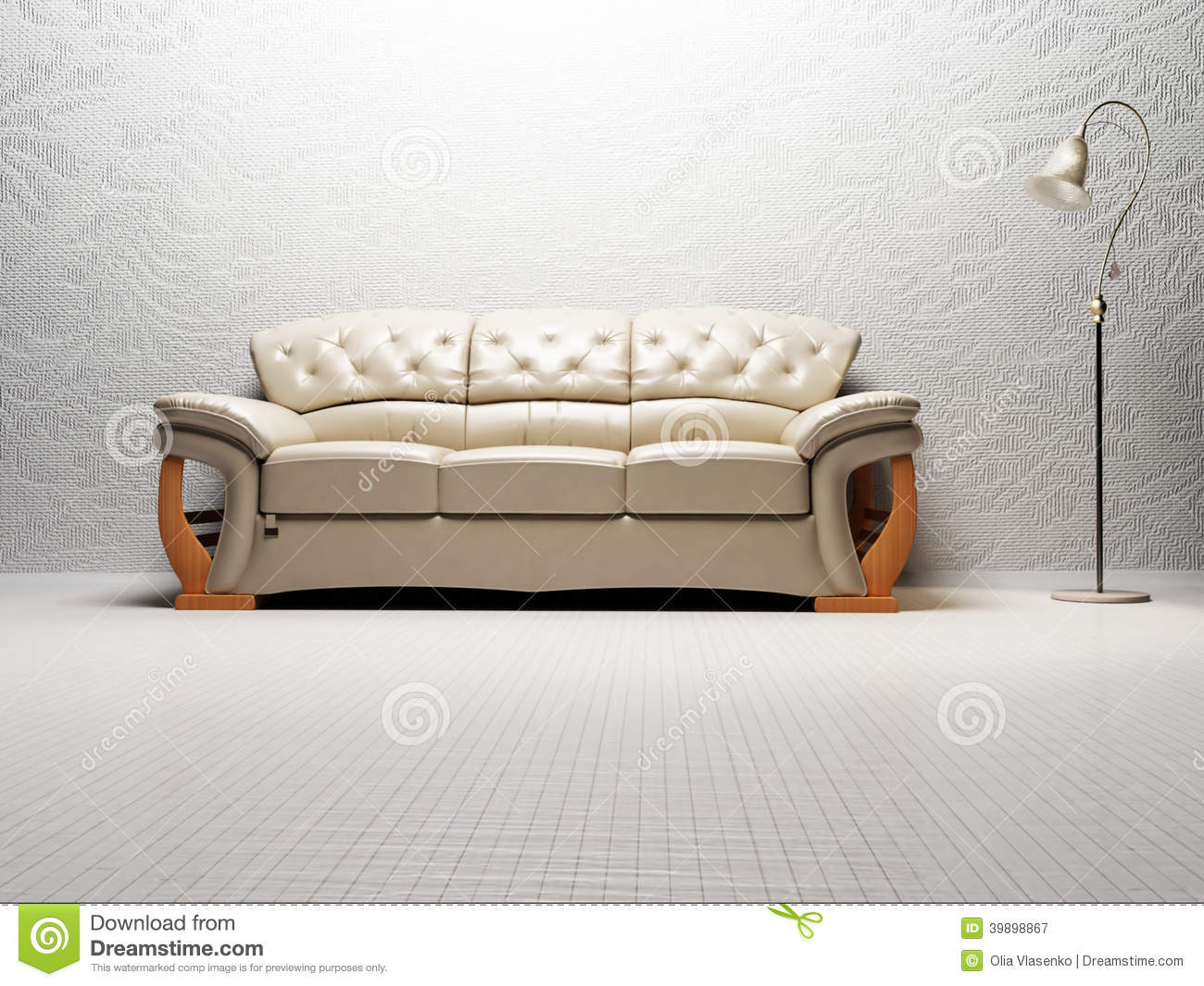 Modern Interior Design Of Living Room With A Bright Sofa Royalty Free Stock Photography
