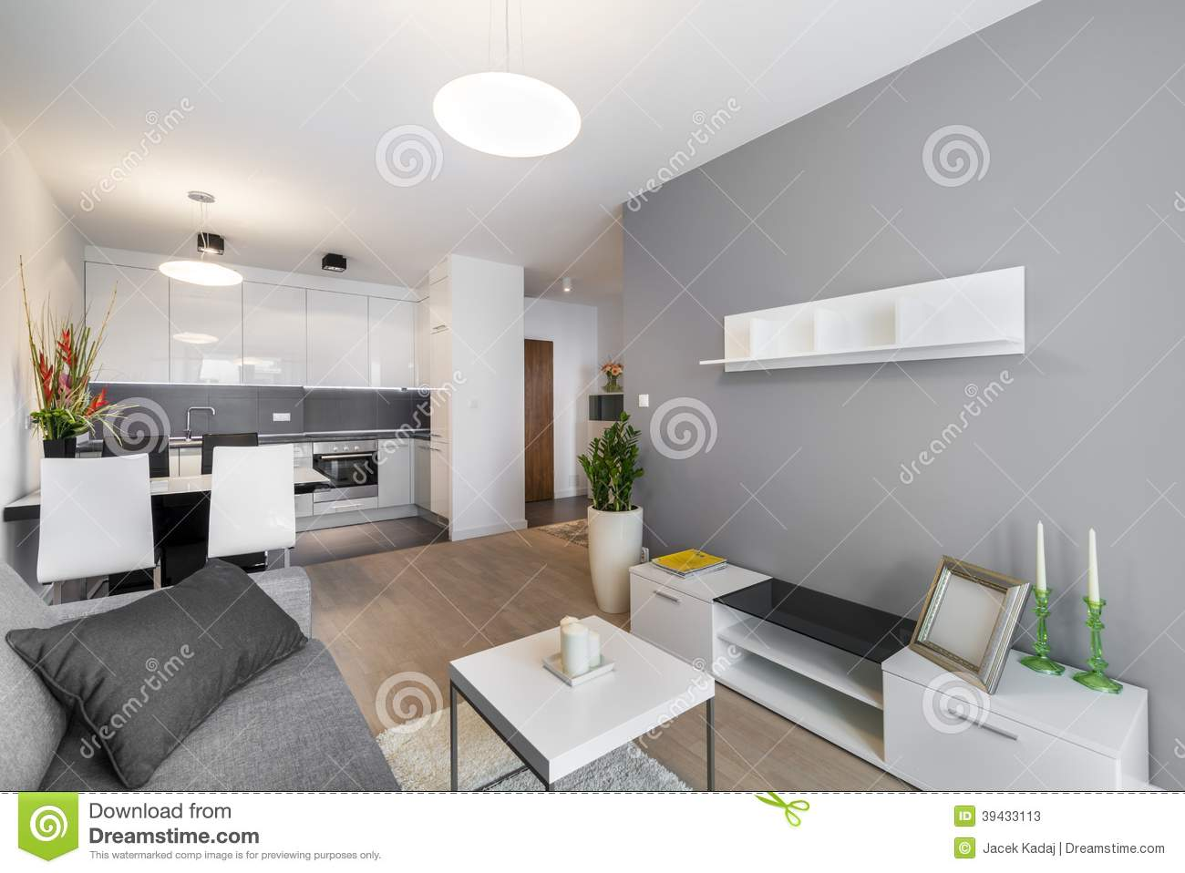 Modern interior design living room stock photo image for Small apartment kitchen and living room ideas