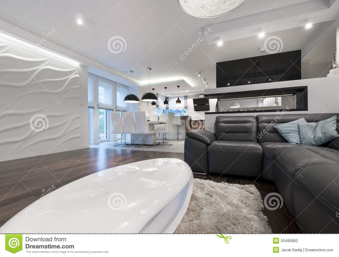 Modern Interior Design Living Room With Kitchen Stock Photo ...
