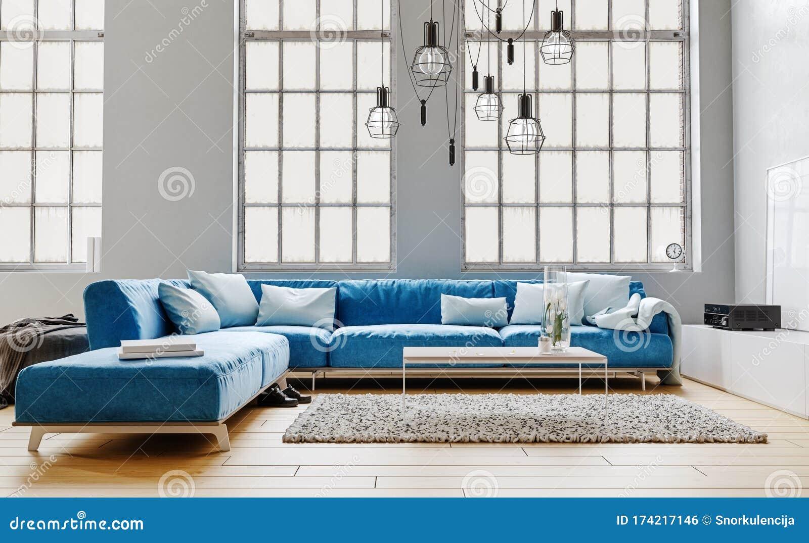 Modern Interior Design Of Living Room Large Modular Blue Velvet Sofa With White Pillows High Ceiling Huge Windows Stock Illustration Illustration Of Interior Ceiling 174217146