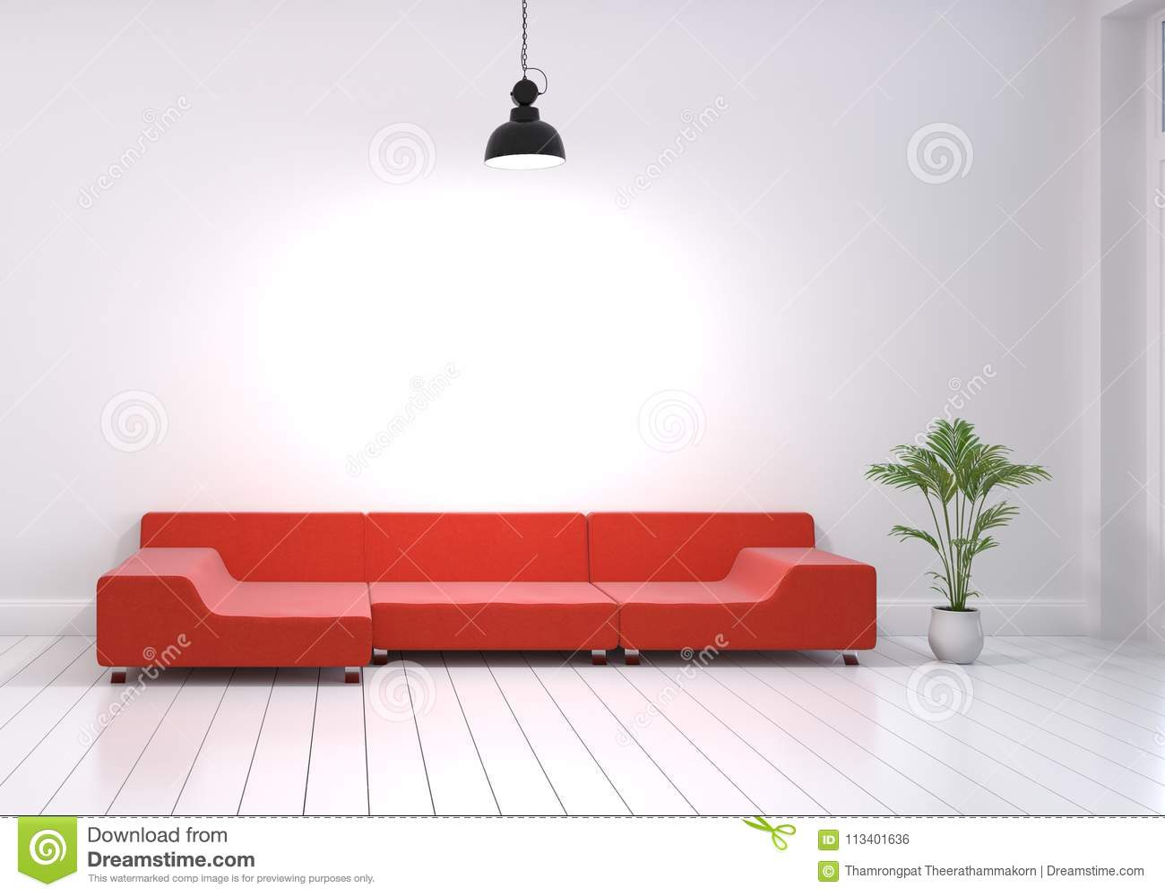 Modern Interior Design Of Living Room With Red Sofa And Plant Po ...