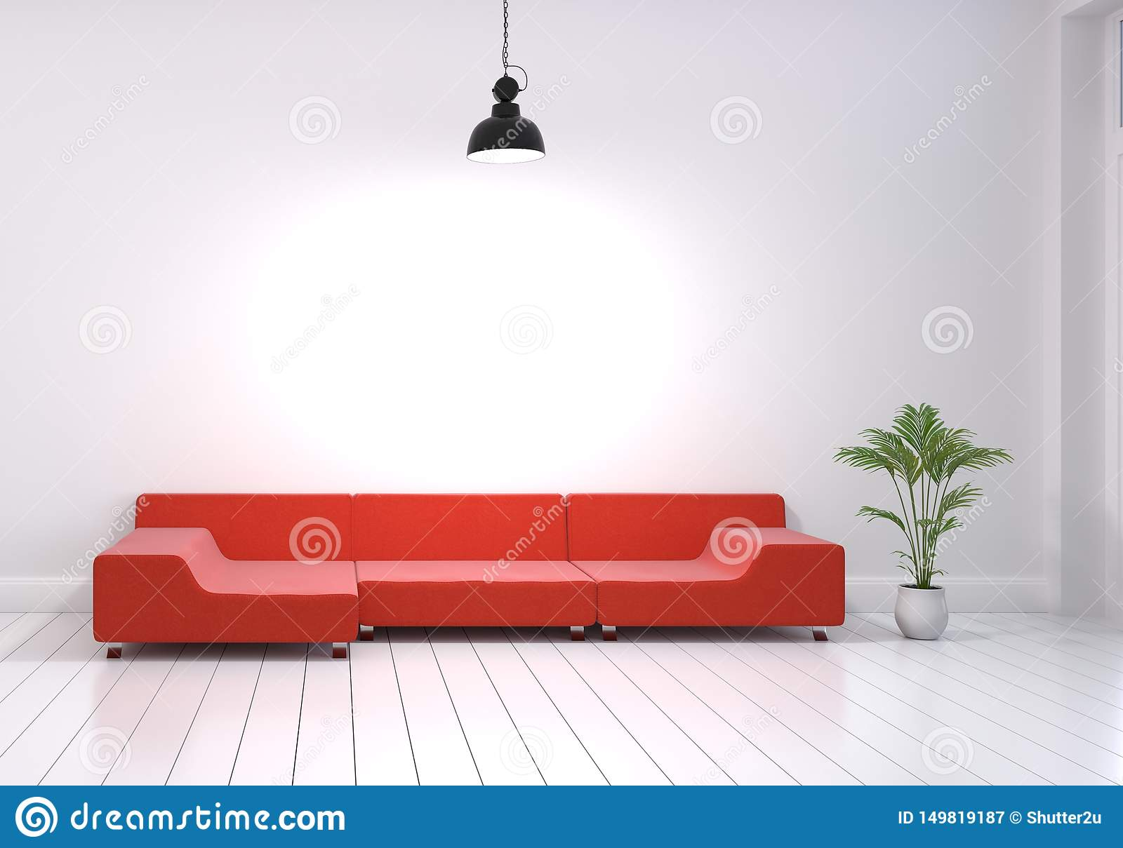 Modern Interior Design Of Living Room With Red Sofa And ...
