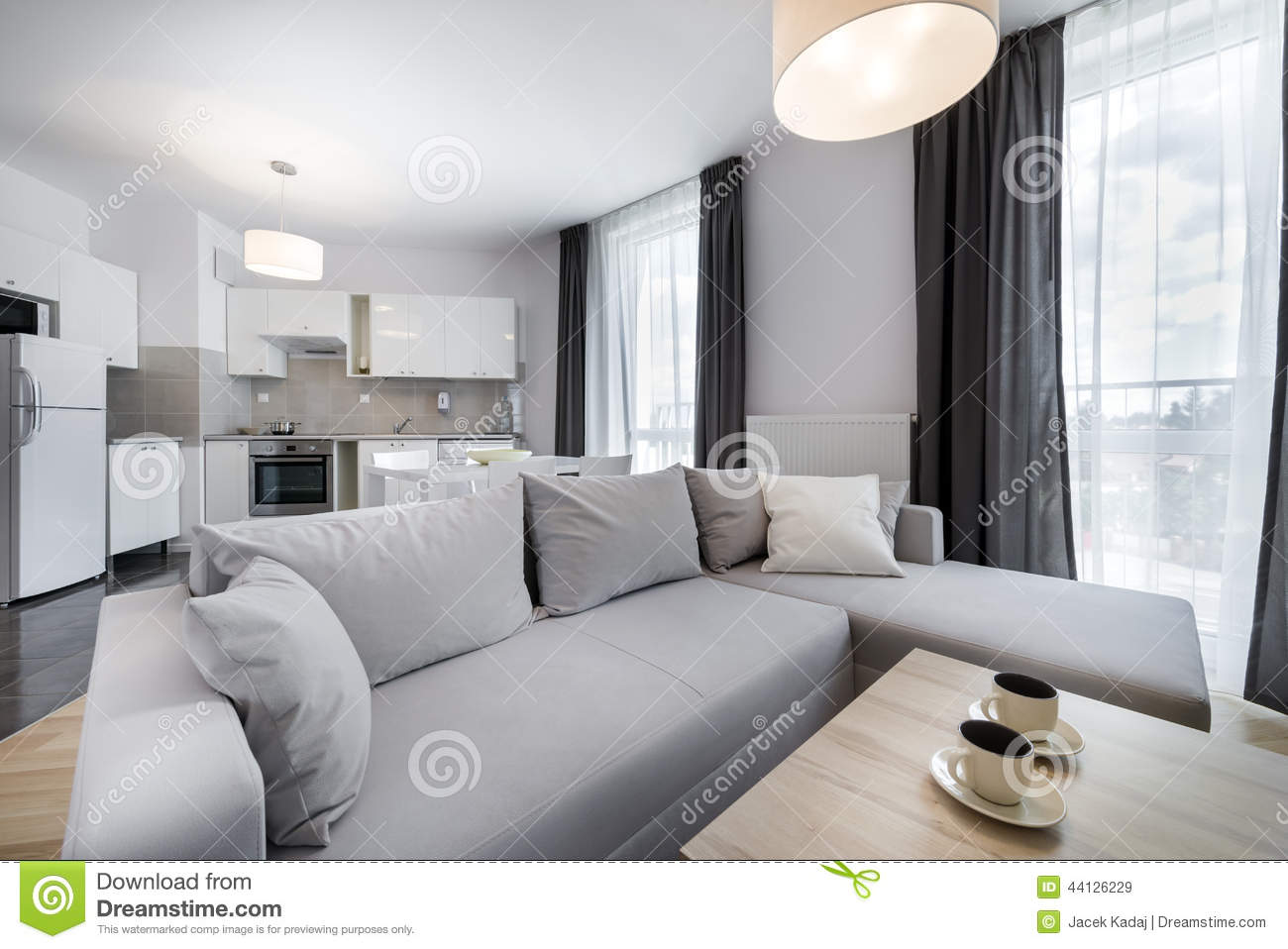 Stock Photo Modern Interior Design Living Room Scandinavian Style Open Space Image44126229 on Living Room Furniture Antique White