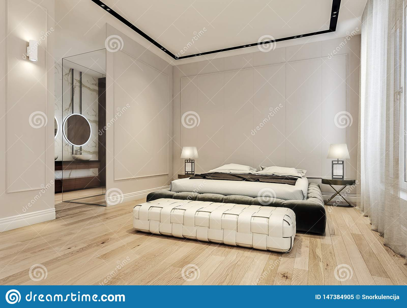 Modern Interior Design Of Master Bedroom With Large Bathroom King Size Bed With Bed Sheets Stock Image Image Of Architecture Grey 147384905