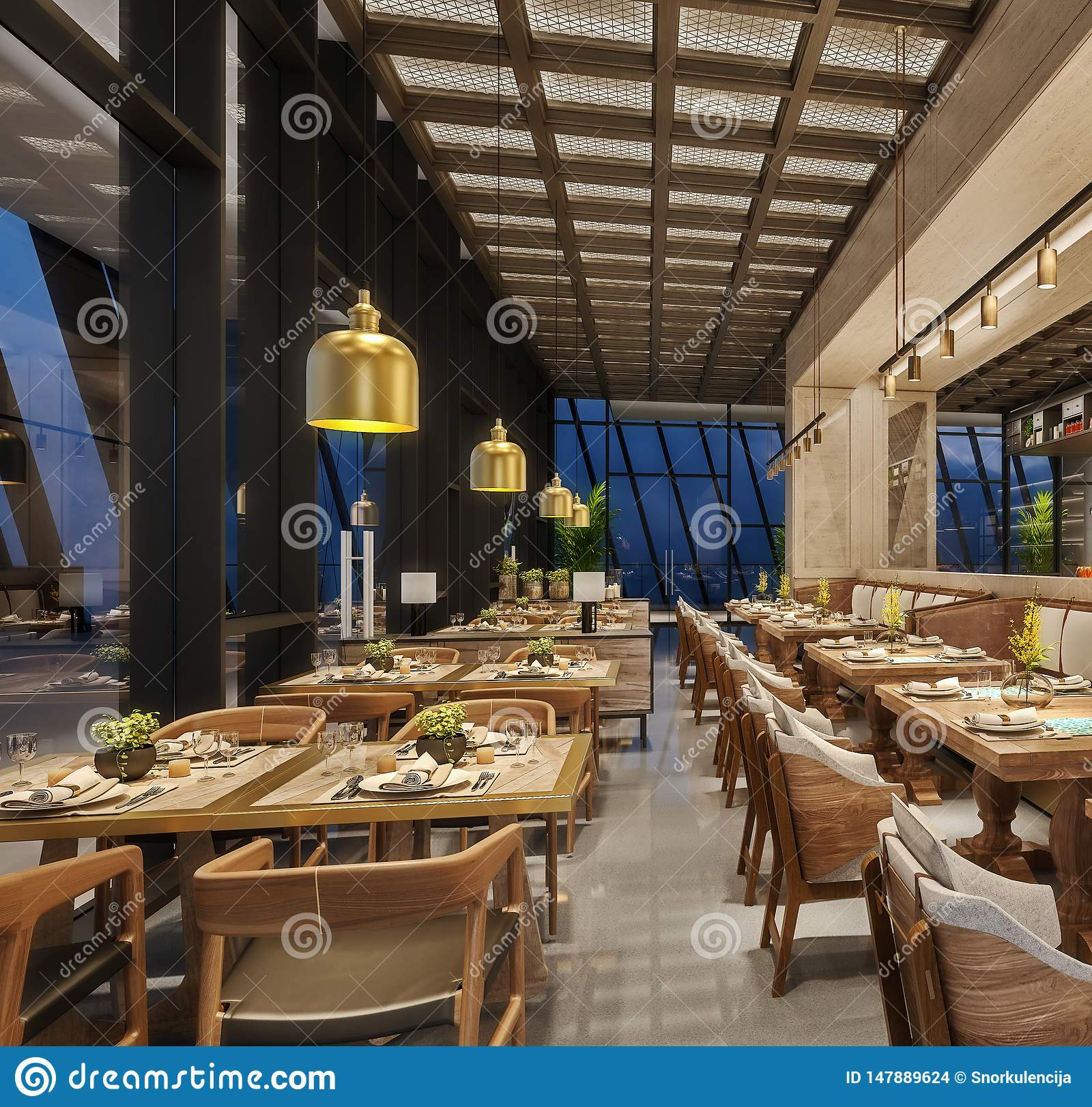 Modern Interior Design Of Restaurant Lounge Oriental Arabic Style With Wire Mesh Ceiling And Hidden Lights Wood And Bronze Gold Stock Photo Image Of Food Bronze 147889624