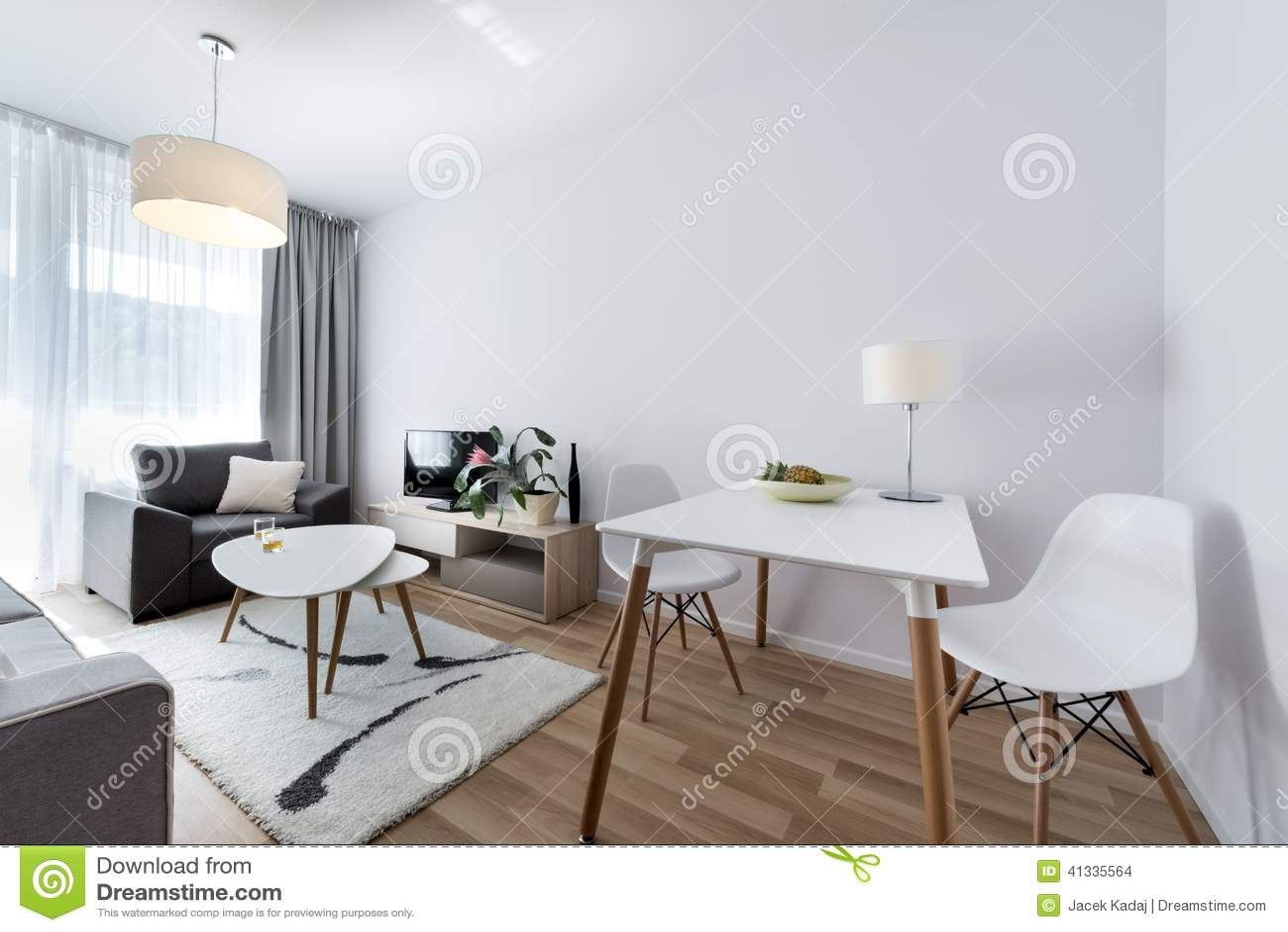 Modern interior design room in scandinavian style stock - Table ronde style scandinave ...