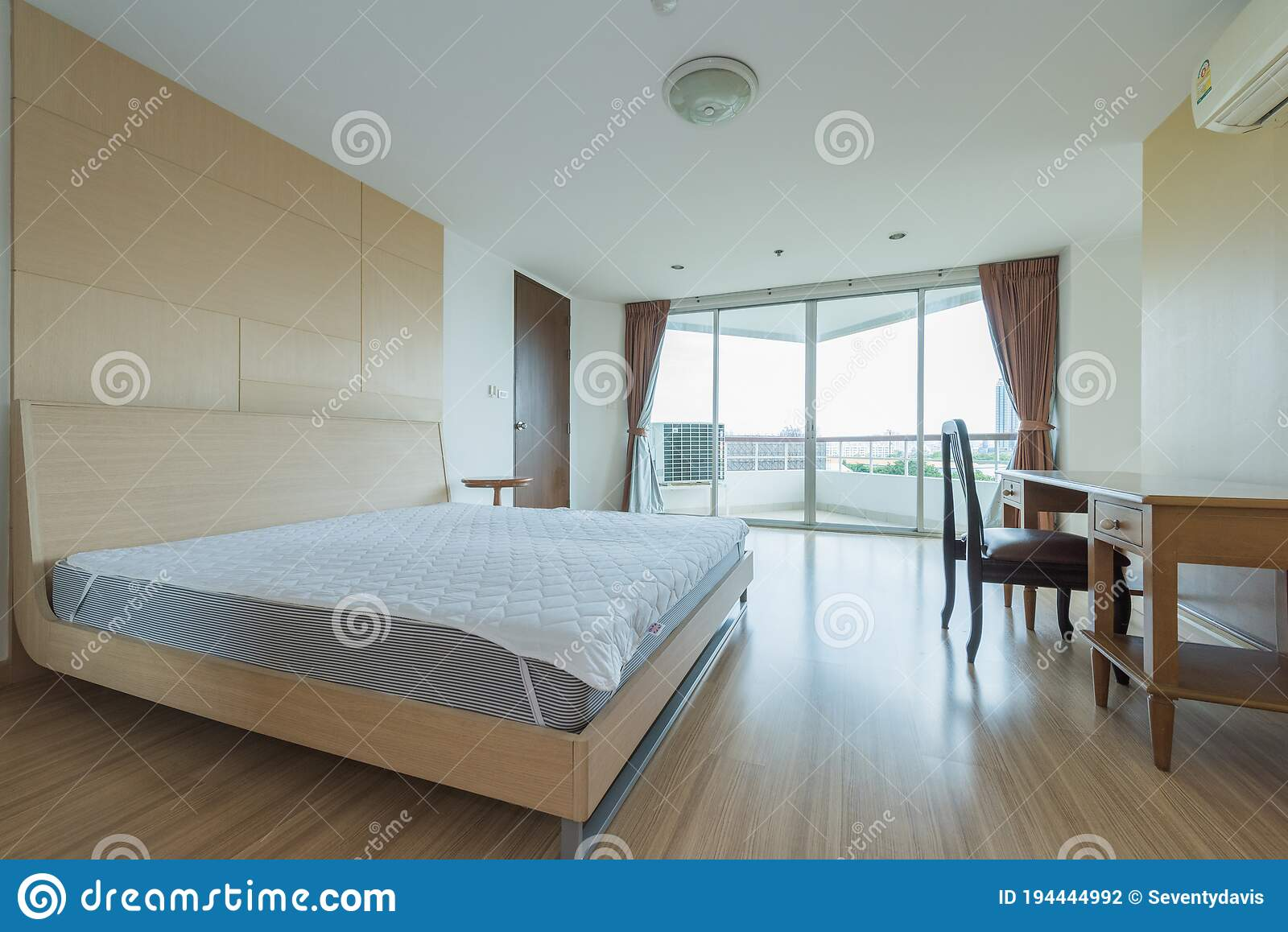 Modern Peaceful Bedroom Interior Design In Apartment Stock Photo Image Of Apartment Clean 194444992