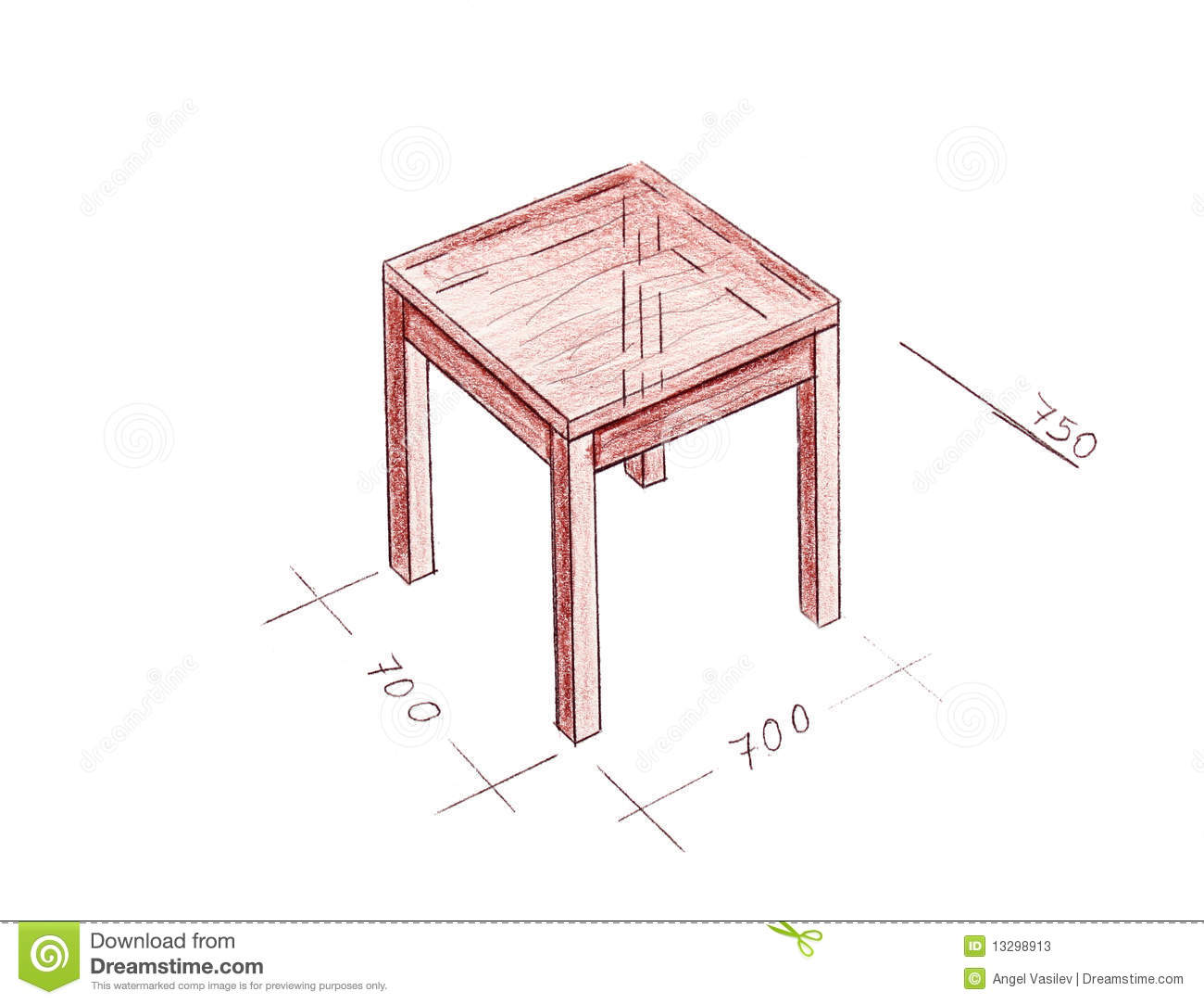 Modern interior design table freehand drawing stock for Interior design table