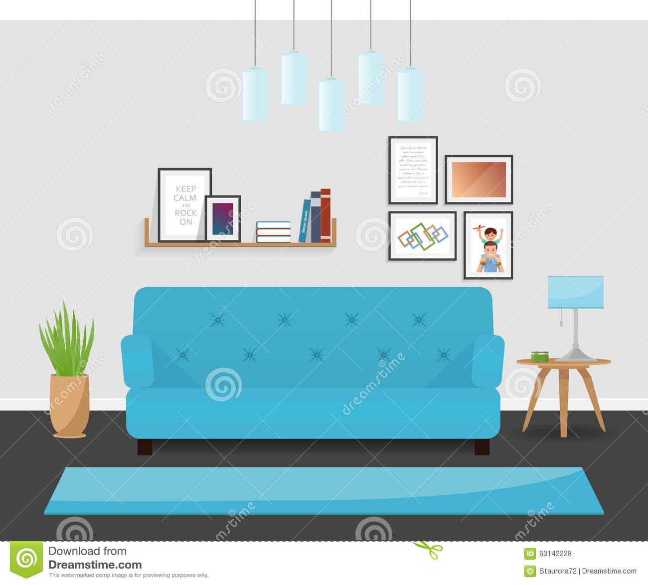 Cozy Living Room Vector Illustration: The Modern Interior Design In Turquoise Colors. The Cozy
