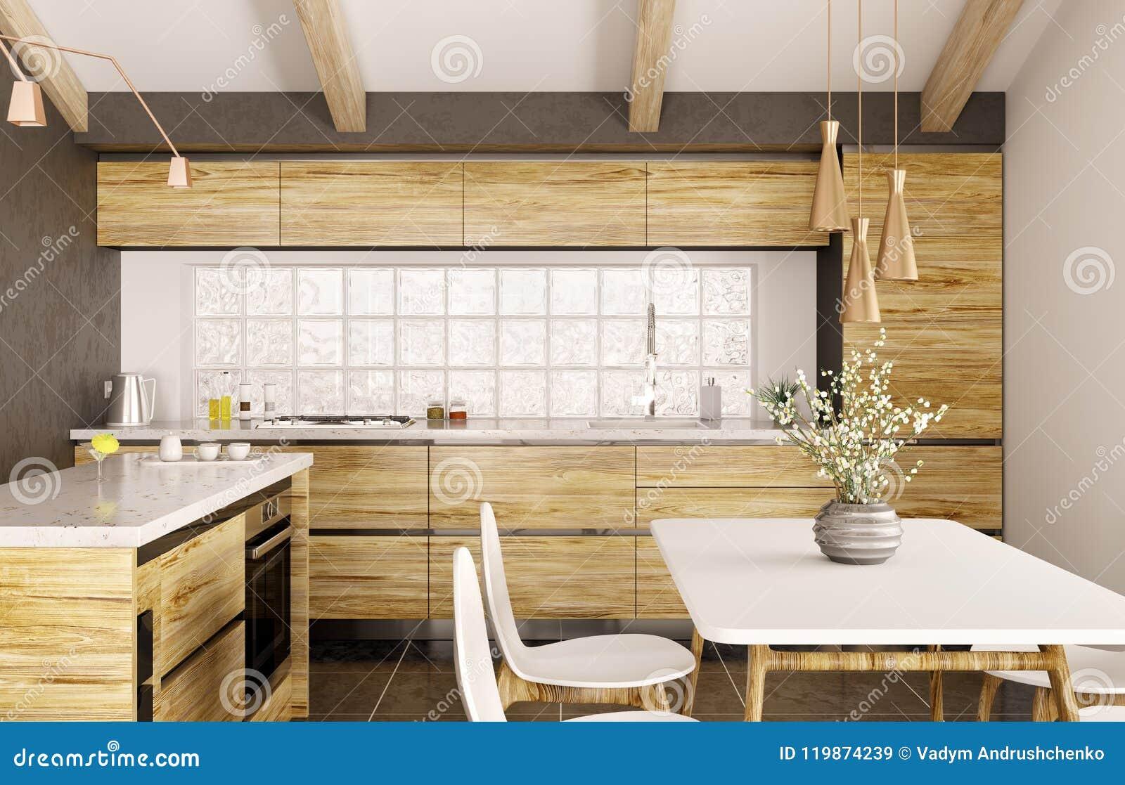 Modern interior design of wooden kitchen with island d renderin