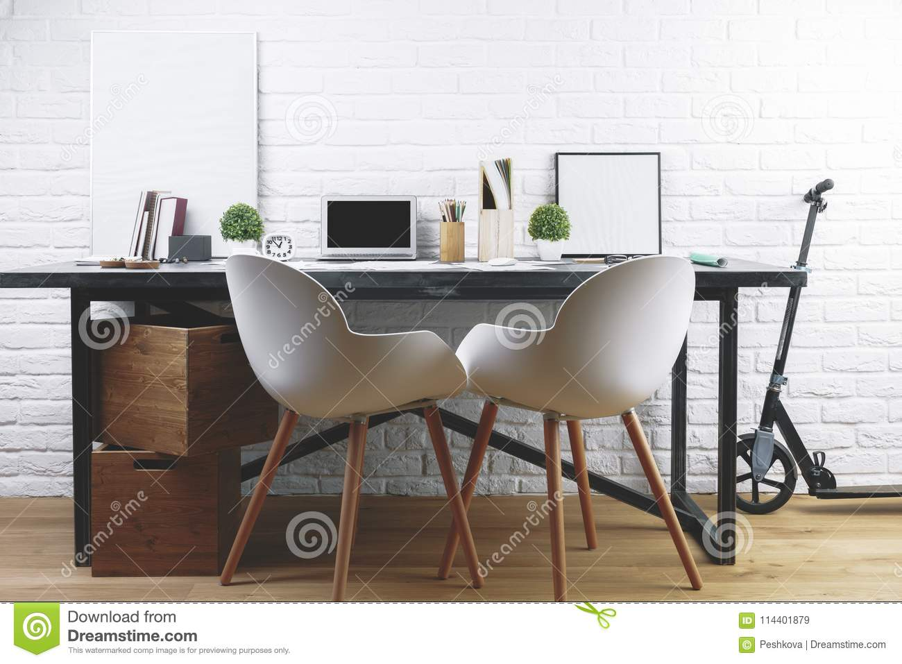 Modern Interior With Designer Workplace Stock Image Image Of