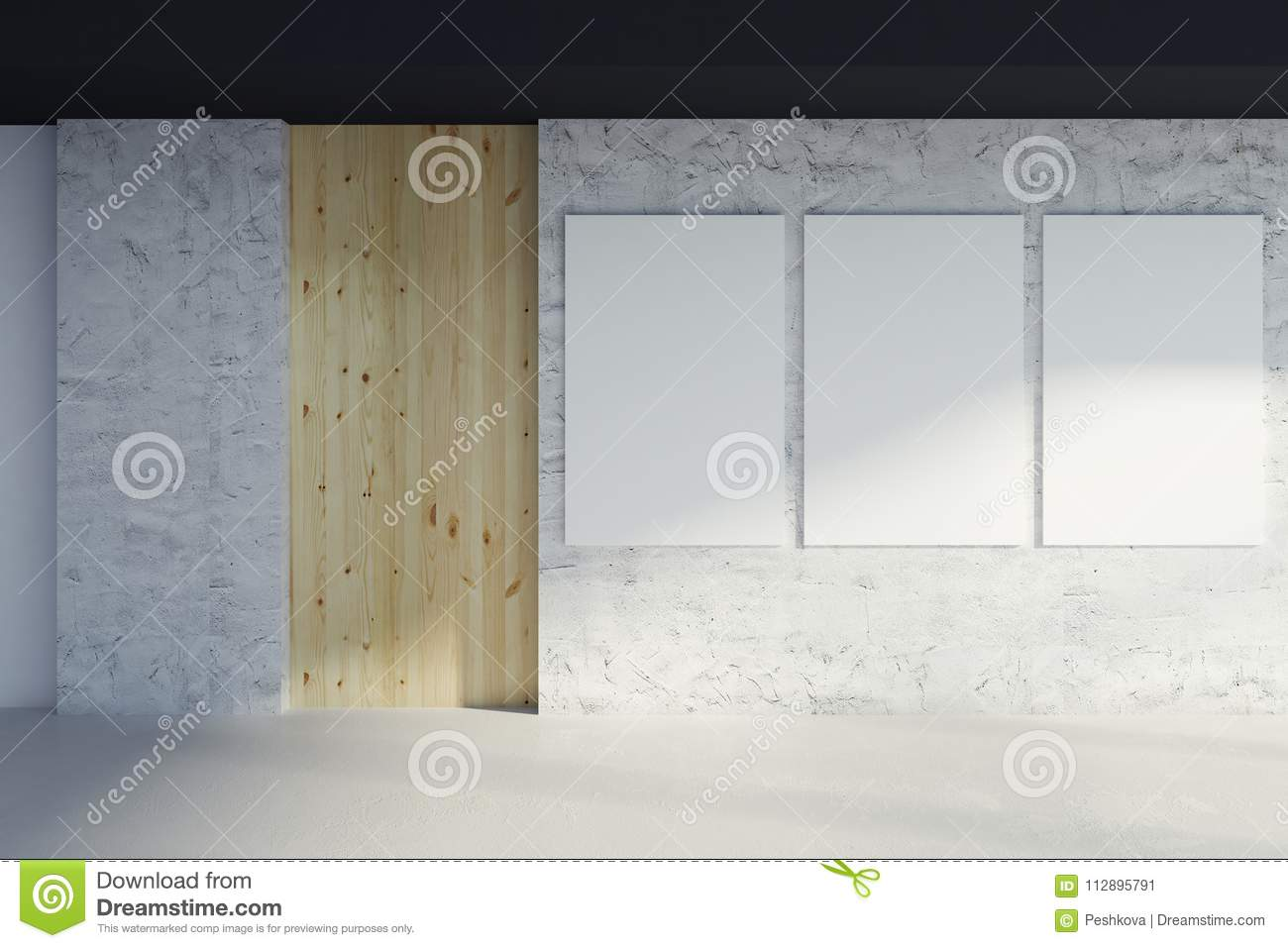 Modern interior with empty billboards stock illustration