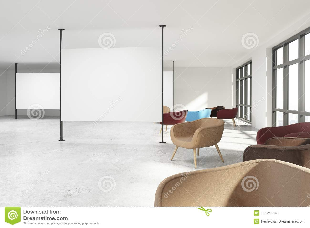 Stock image of modern interior design in scandinavian style with