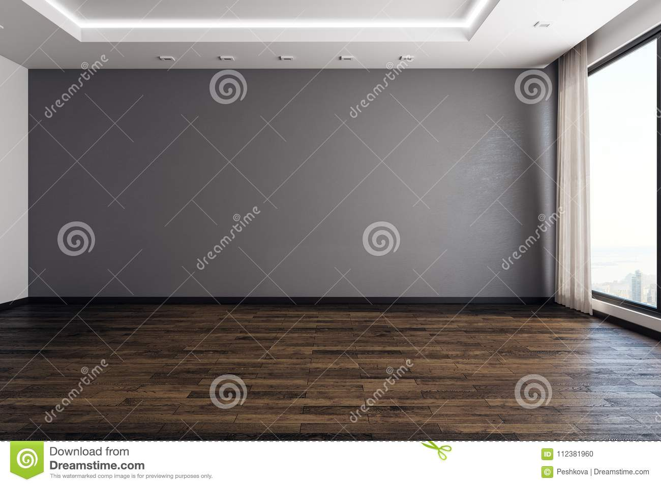 Modern interior with empty wall stock illustration illustration