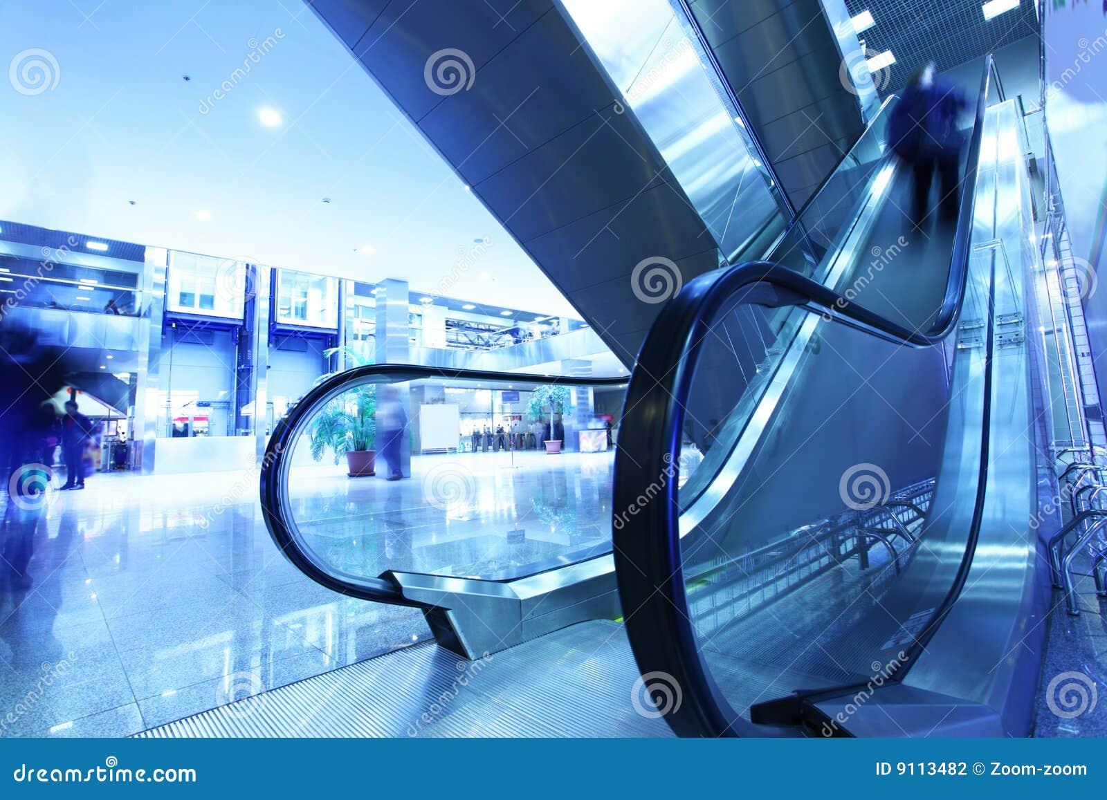 Modern interior with escalator