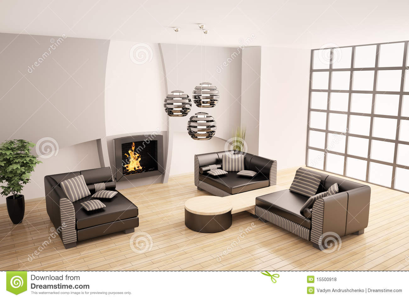 Modern Interior With Fireplace 3d Royalty Free Stock