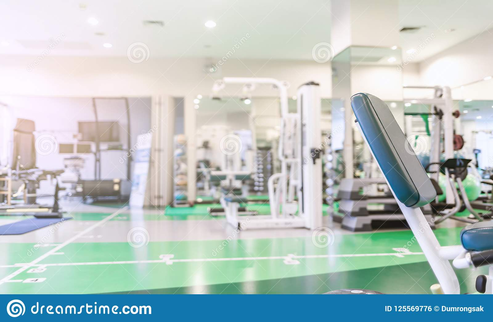 Modern interior gym room or fitness center background stock photo