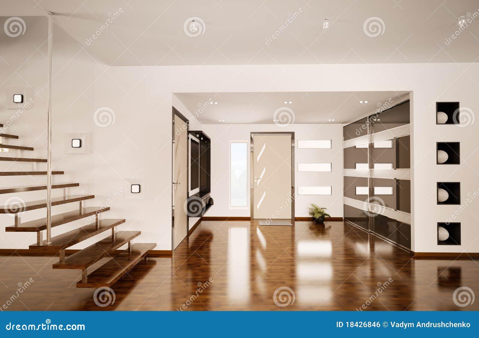 Modern interior of hall d render stock illustration