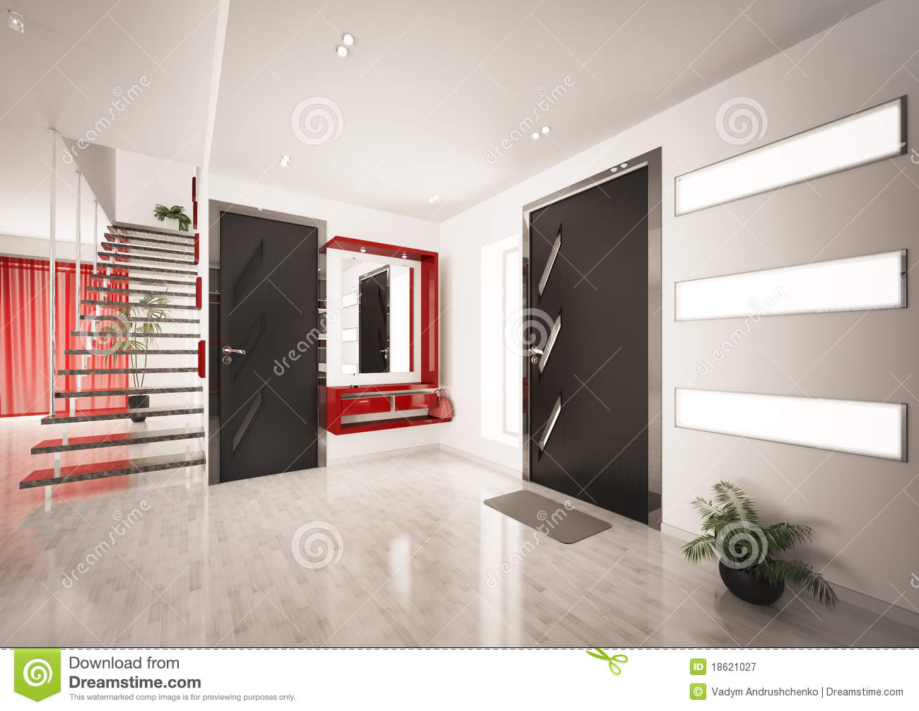 modern interior of hall with staircase 3d render royalty. Black Bedroom Furniture Sets. Home Design Ideas